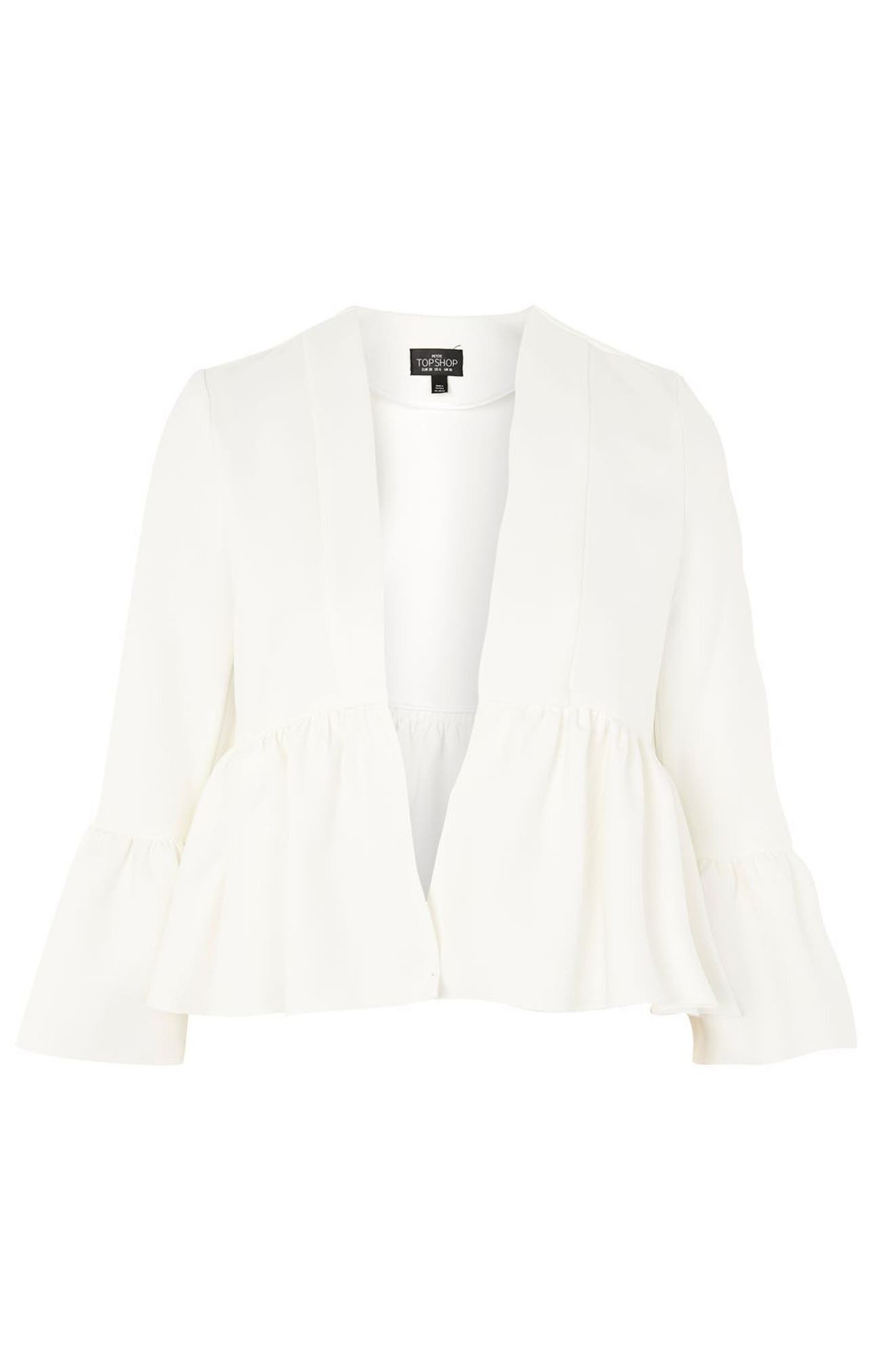 Ruffle Crop Jacket,                             Alternate thumbnail 4, color,                             Ivory