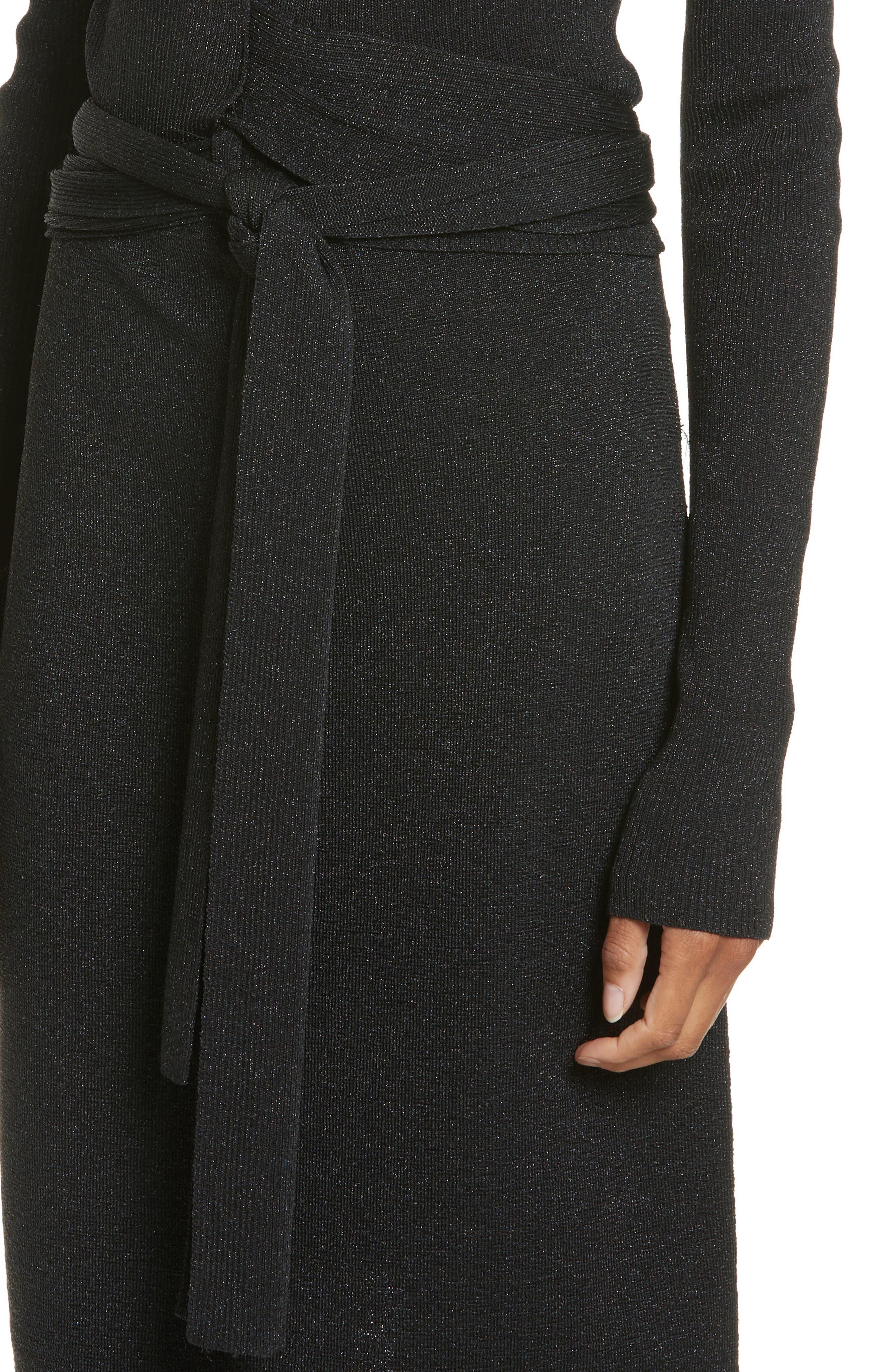 Metallic Tie Waist Dress,                             Alternate thumbnail 4, color,                             Black