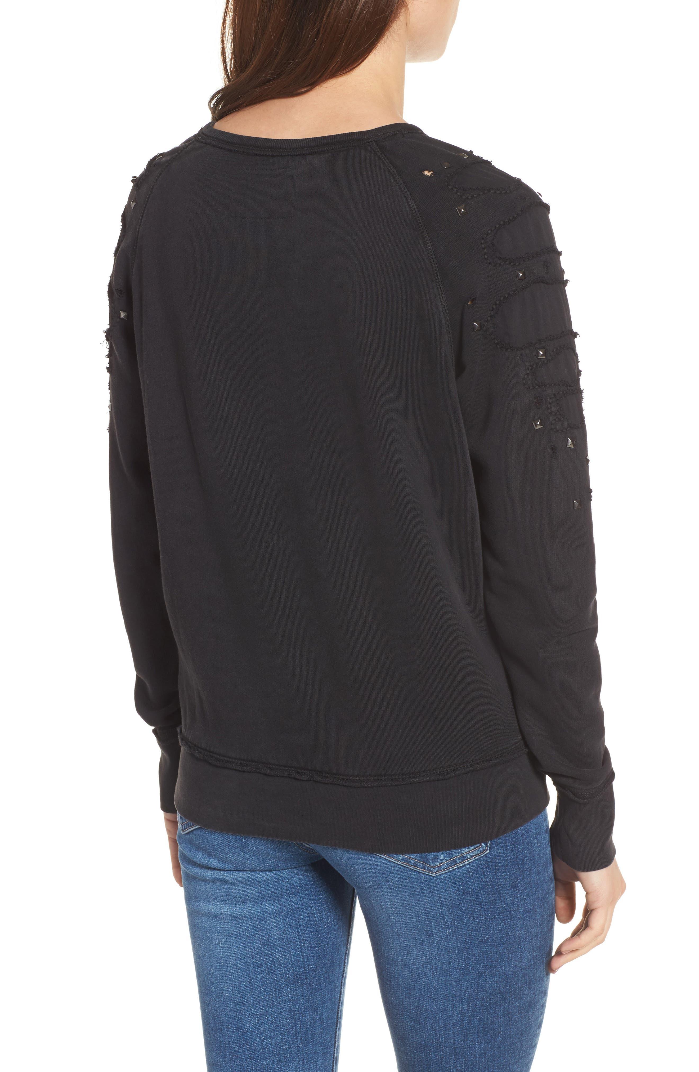 Distressed Boyfriend Sweatshirt,                             Alternate thumbnail 2, color,                             Black