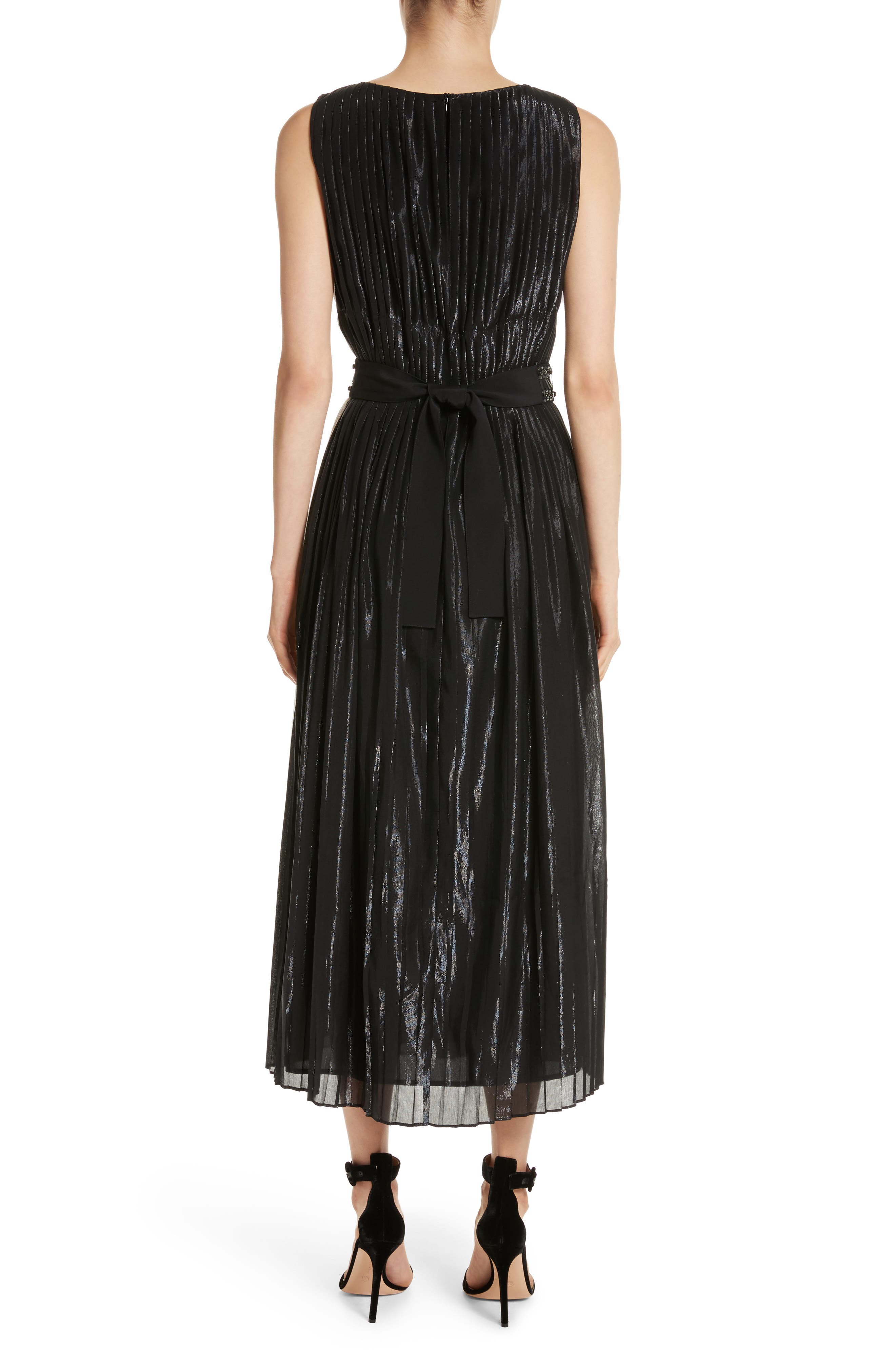 Alternate Image 2  - St. John Collection Pleated Chiffon Midi Dress
