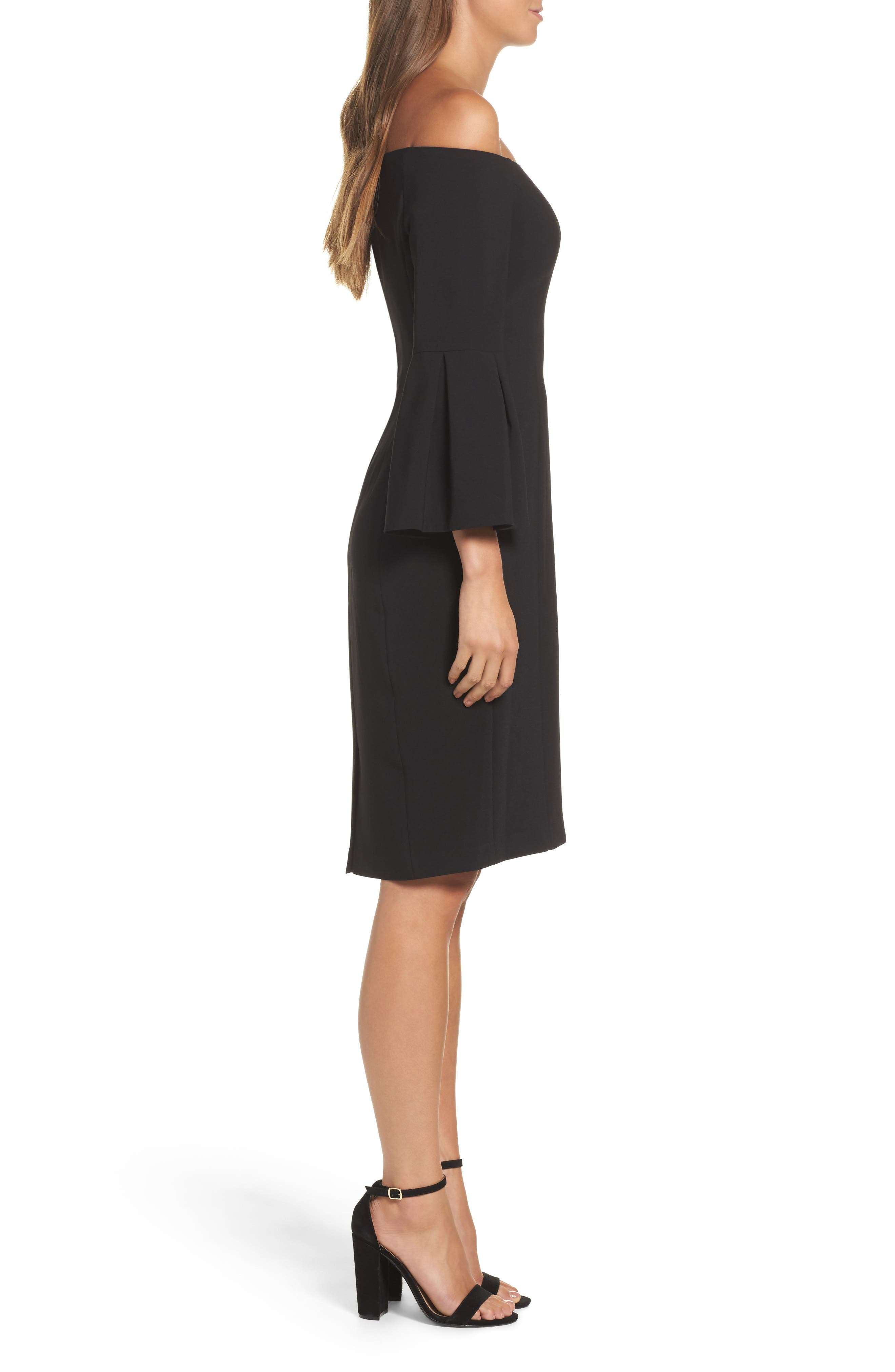 Off the Shoulder Bell Sleeve Sheath Dress,                             Alternate thumbnail 3, color,                             Black