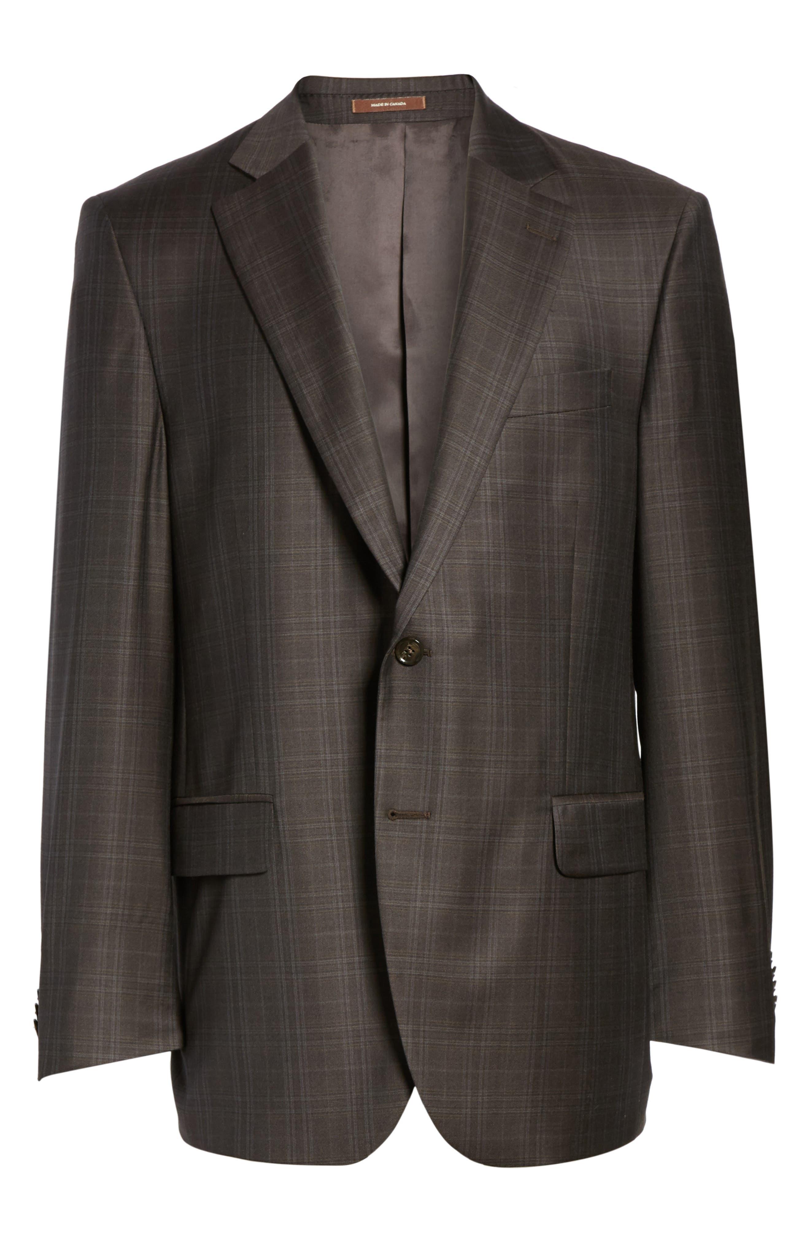 Flynn Classic Fit Plaid Wool Sport Coat,                             Alternate thumbnail 6, color,                             Brown