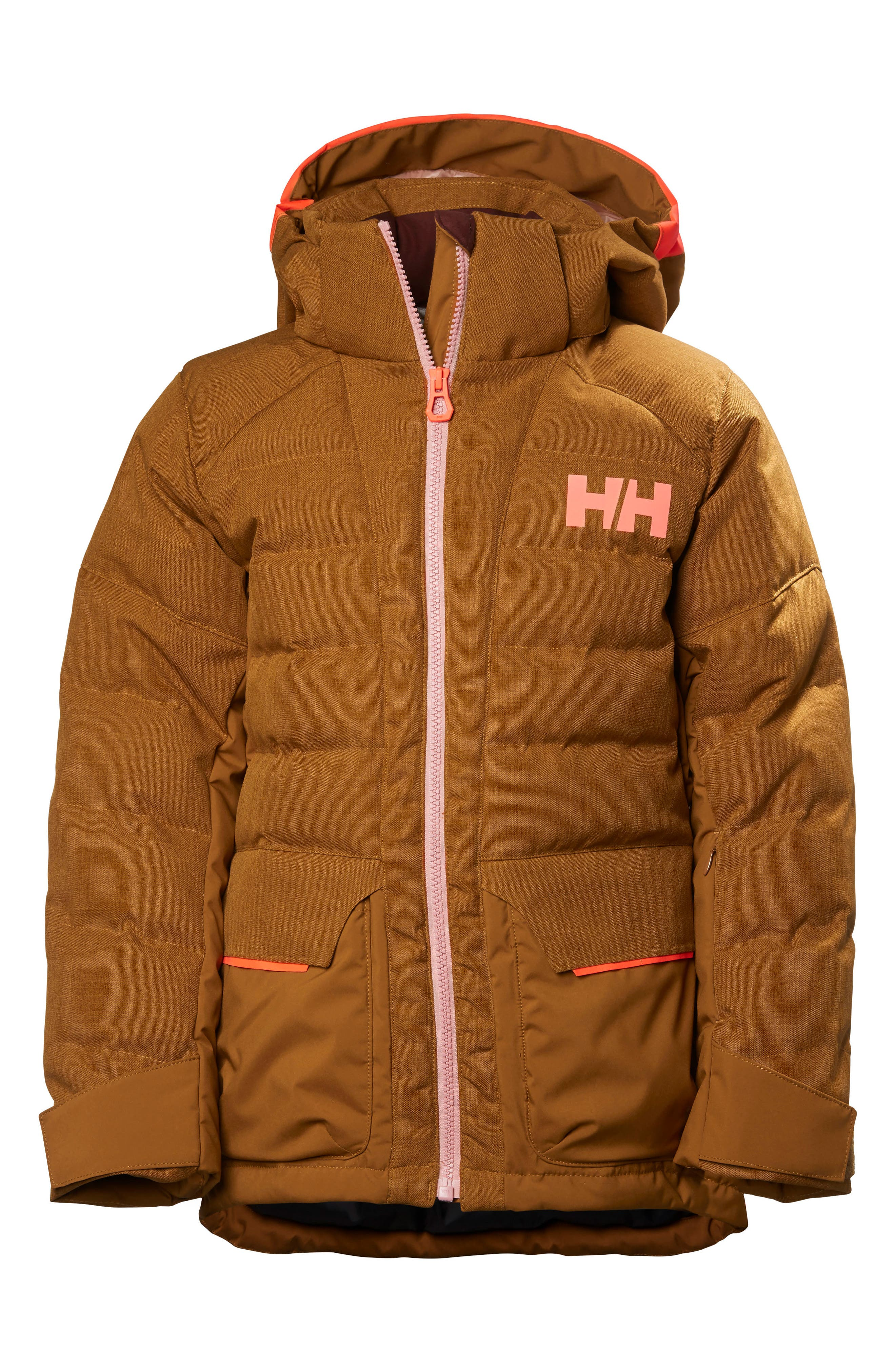 Jr. Leah Waterproof & Windproof 480-Fill Power Down Jacket,                         Main,                         color, Cinnamon