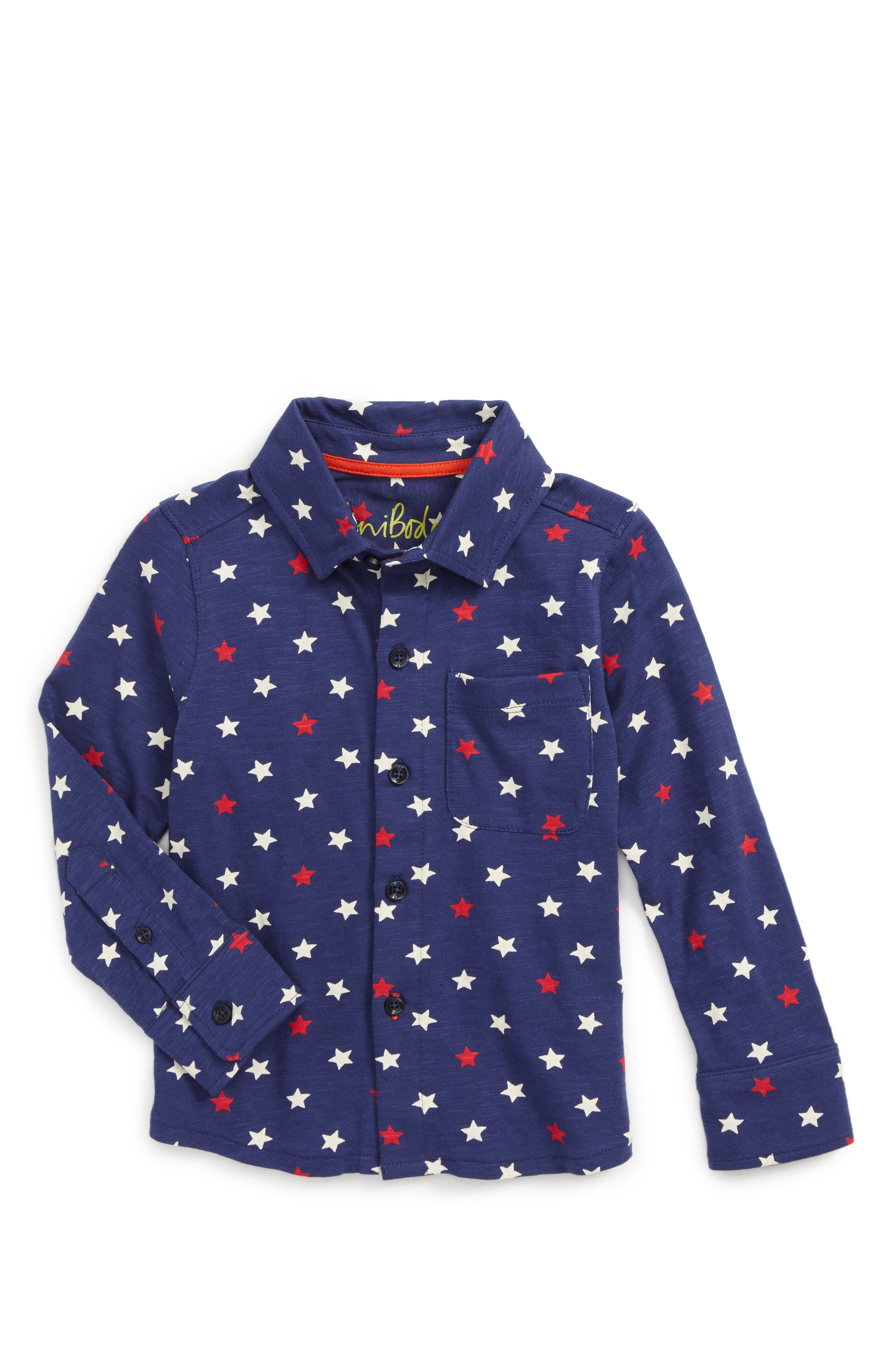 Main Image - Mini Boden Star Print Jersey Shirt (Toddler Boys, Little Boys & Big Boys)