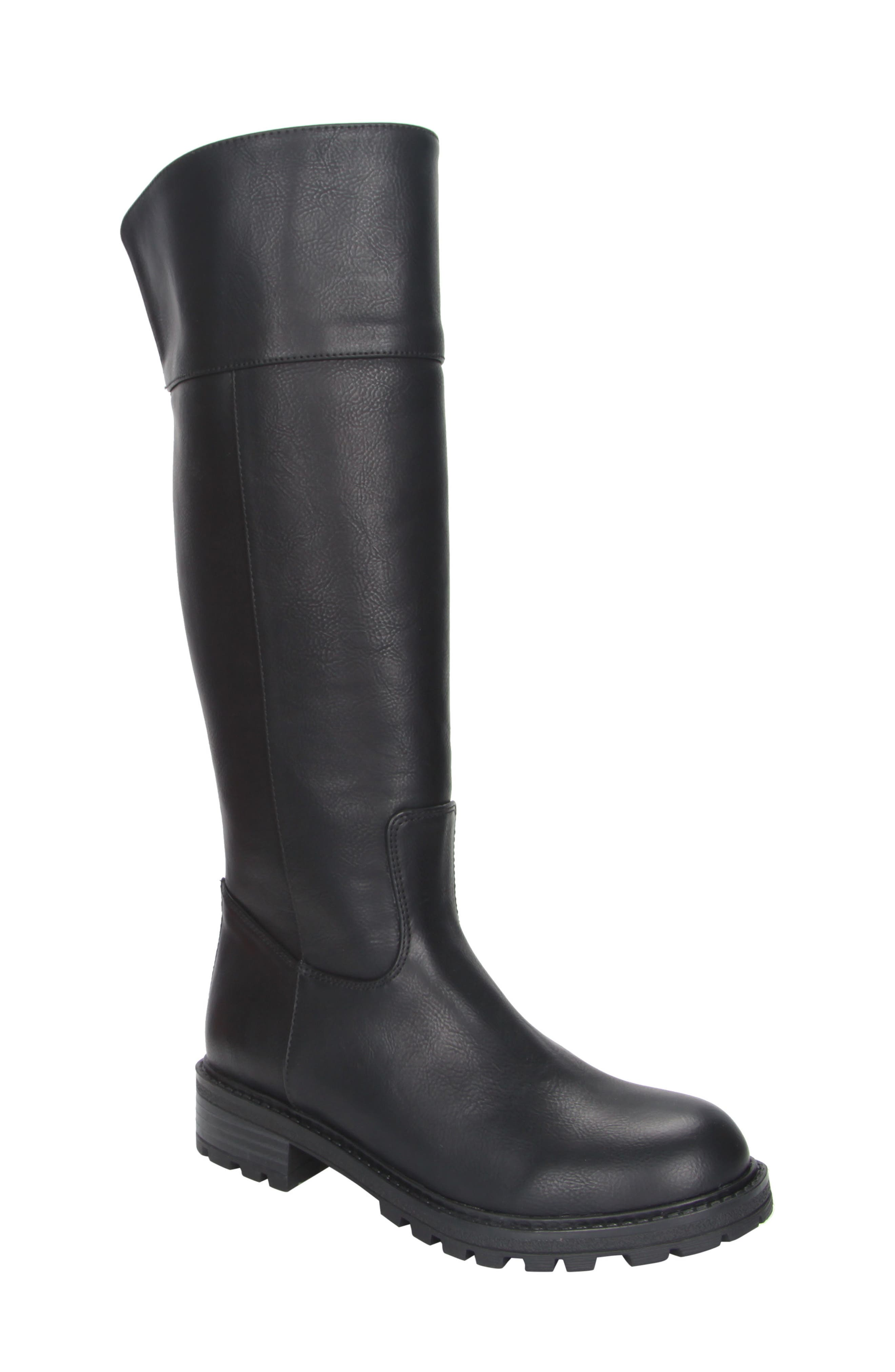 Nixie Tall Lugged Boot,                         Main,                         color, Black Tumbled Leather