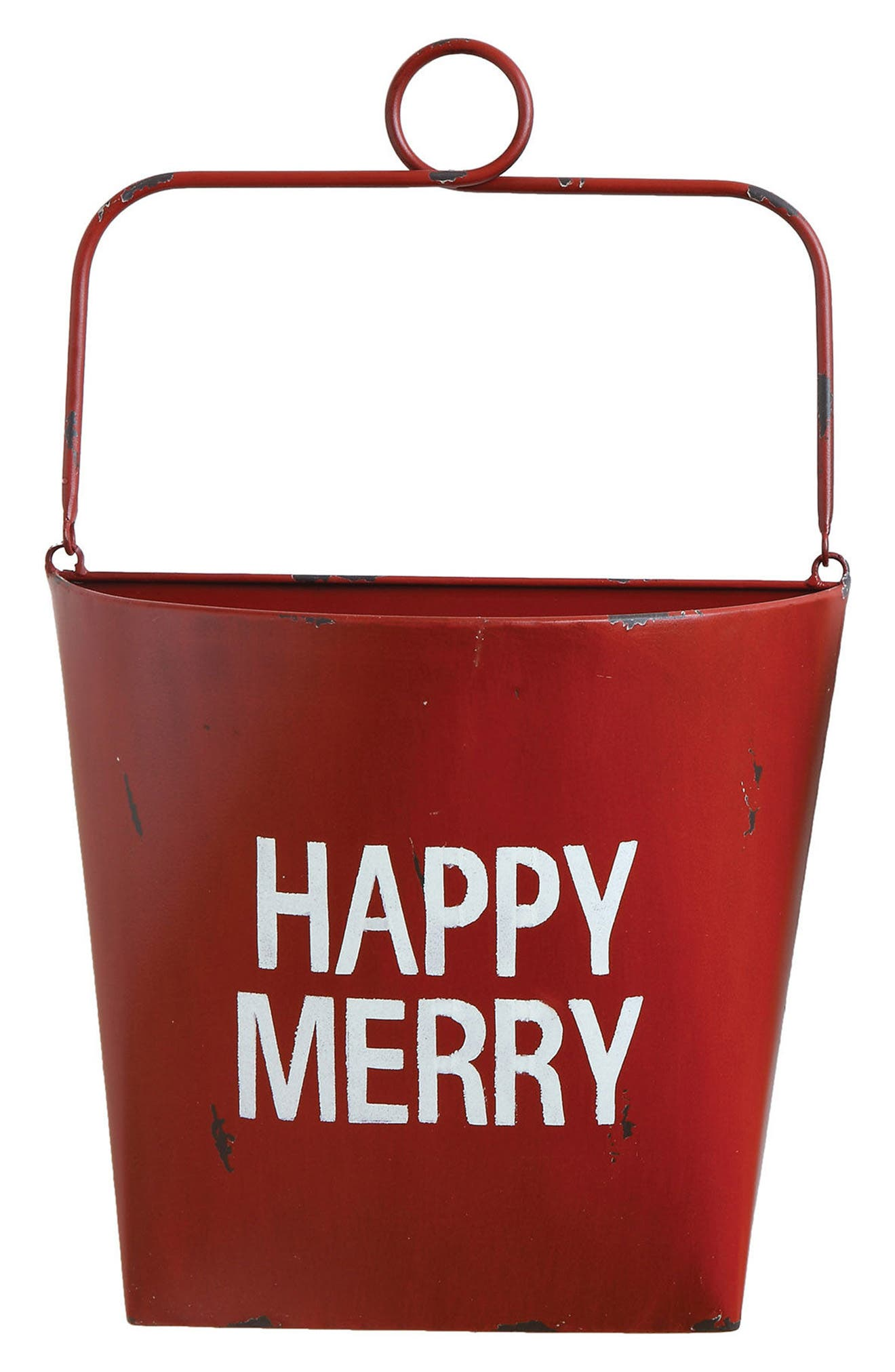 Happy Merry Bucket,                             Main thumbnail 1, color,                             Red