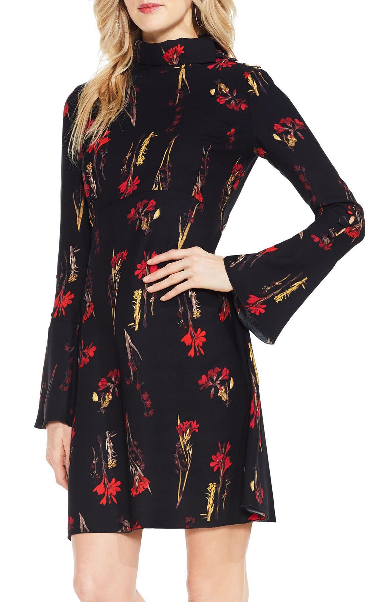Botanical Flared Sleeve Dress,                         Main,                         color, Rich Black
