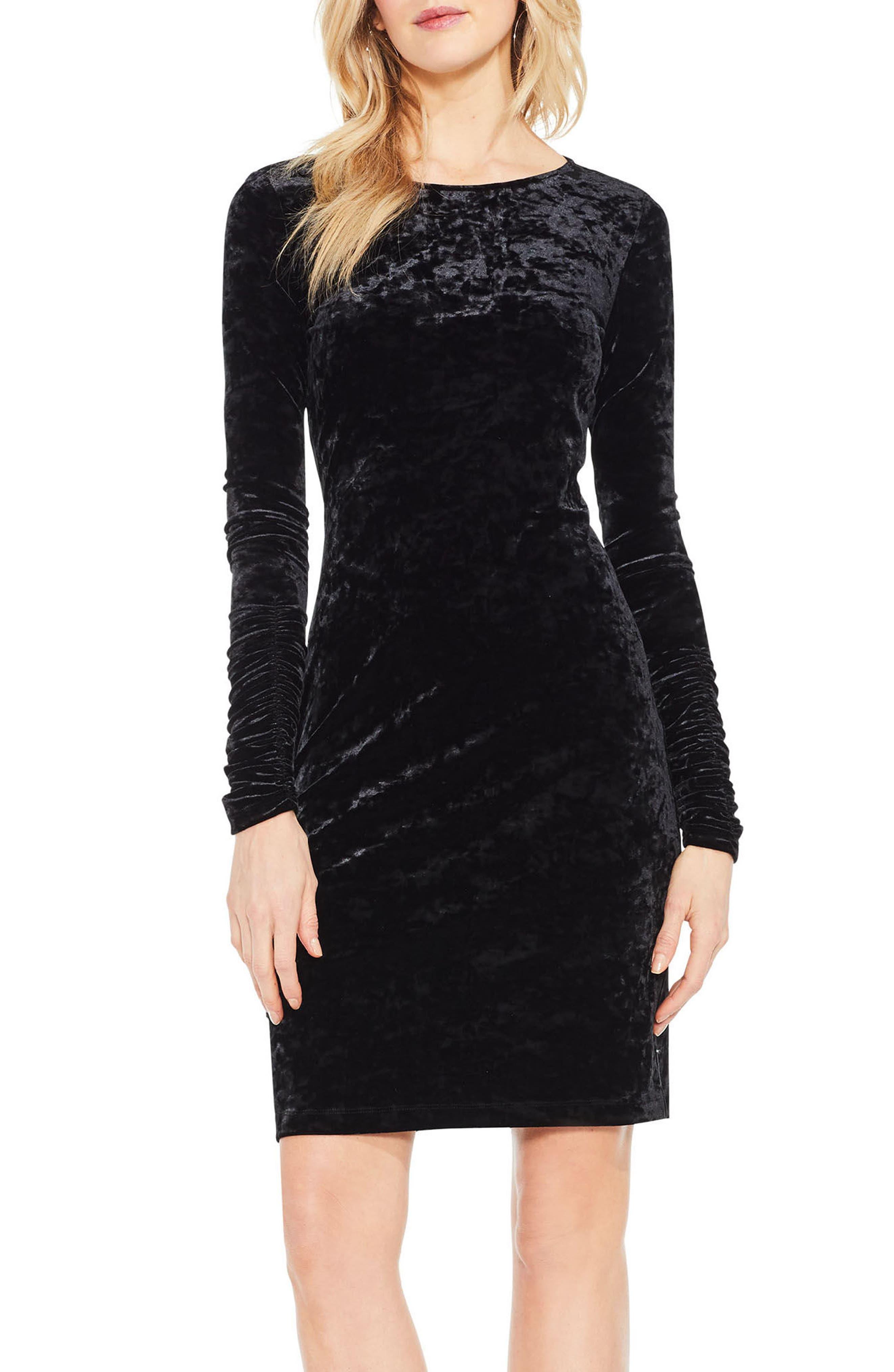 Ruched Sleeve Crushed Velvet Dress,                         Main,                         color, Rich Black