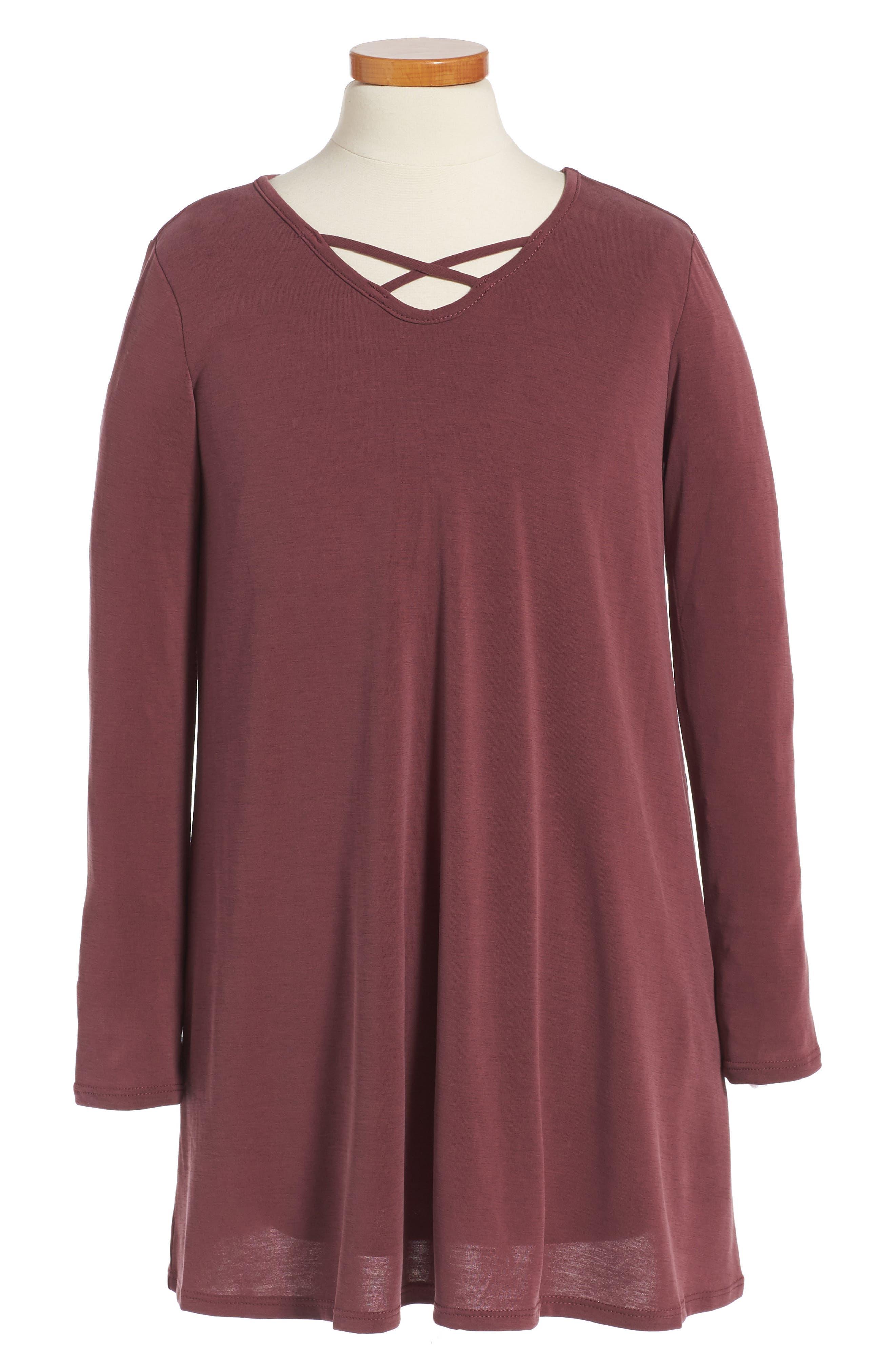 Cross Front Knit Dress,                         Main,                         color, Burgundy