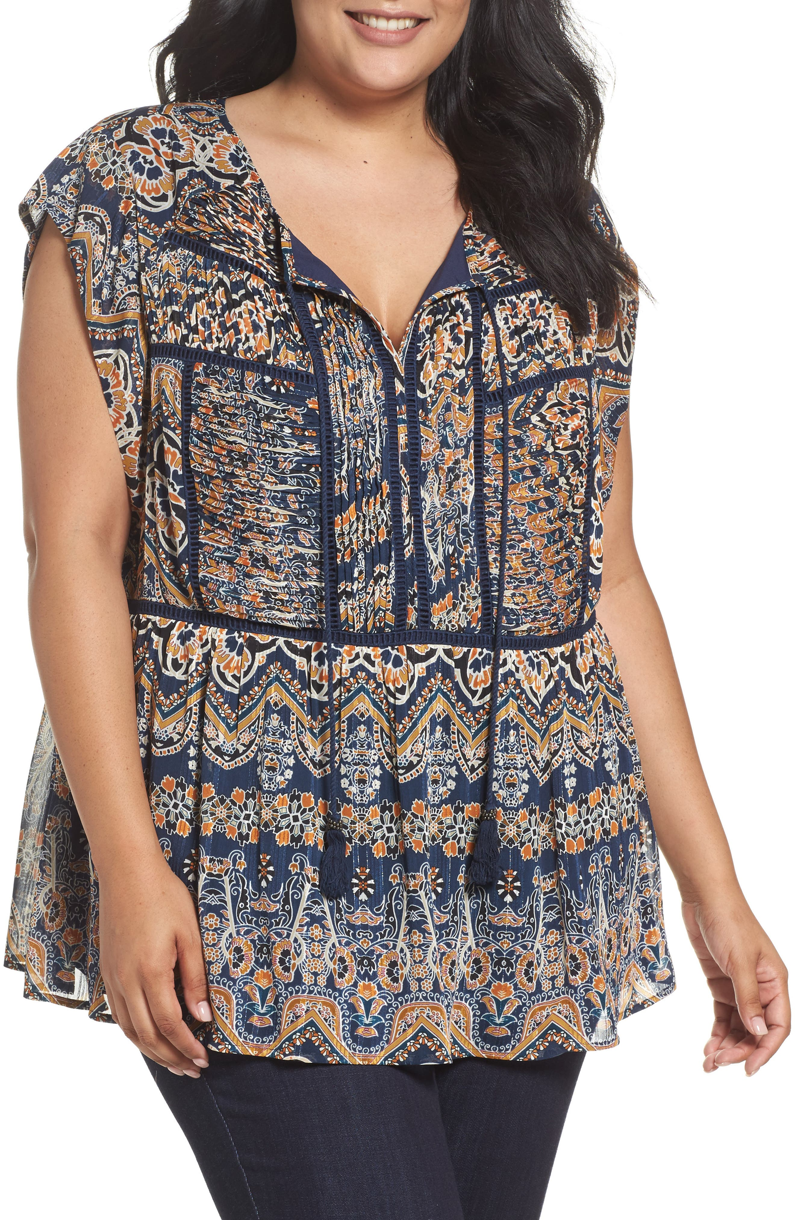 Print Pleated Top,                         Main,                         color, Blue