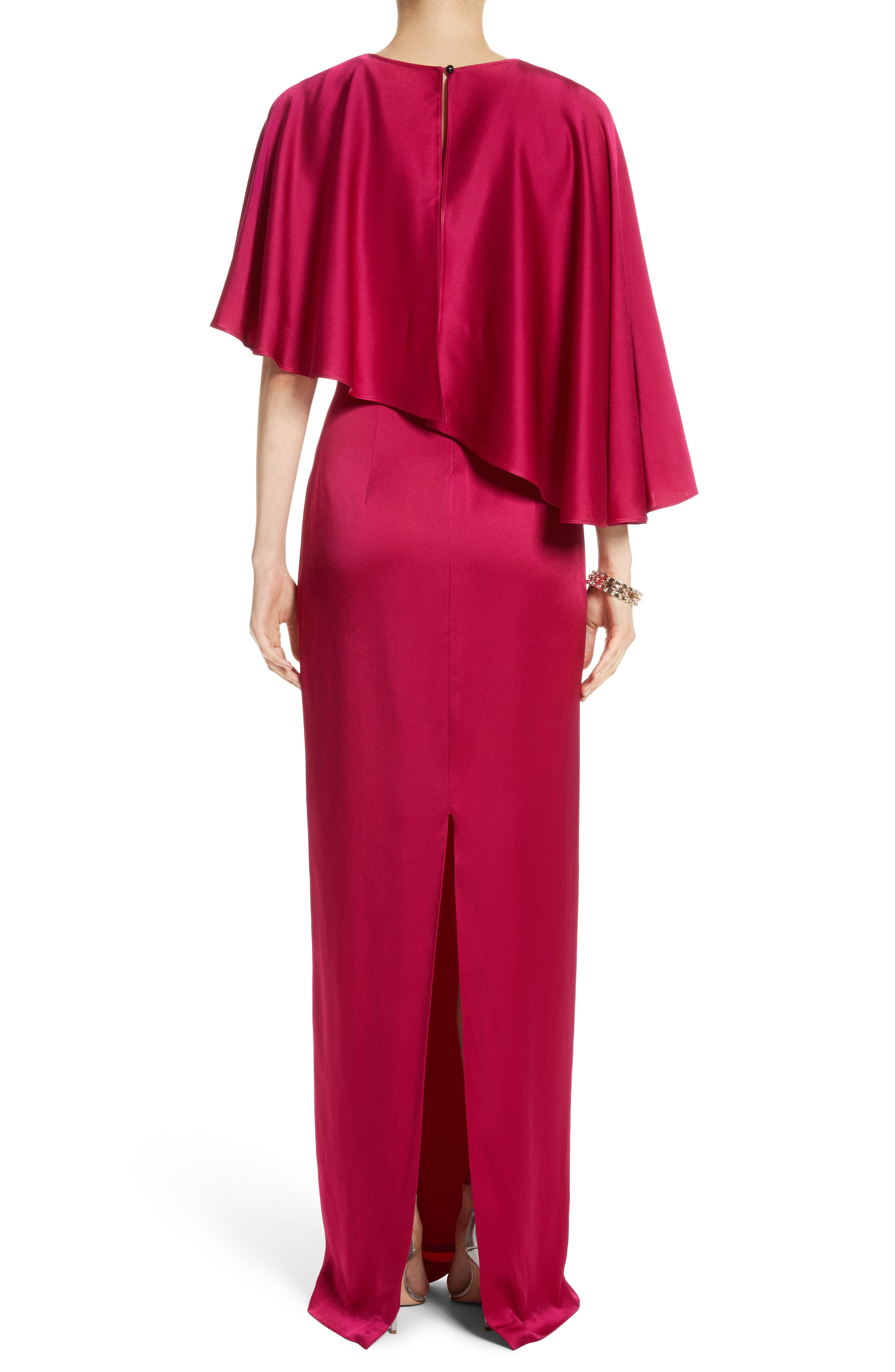 Alternate Image 2  - St. John Evening Popover Cape Liquid Crepe Column Gown