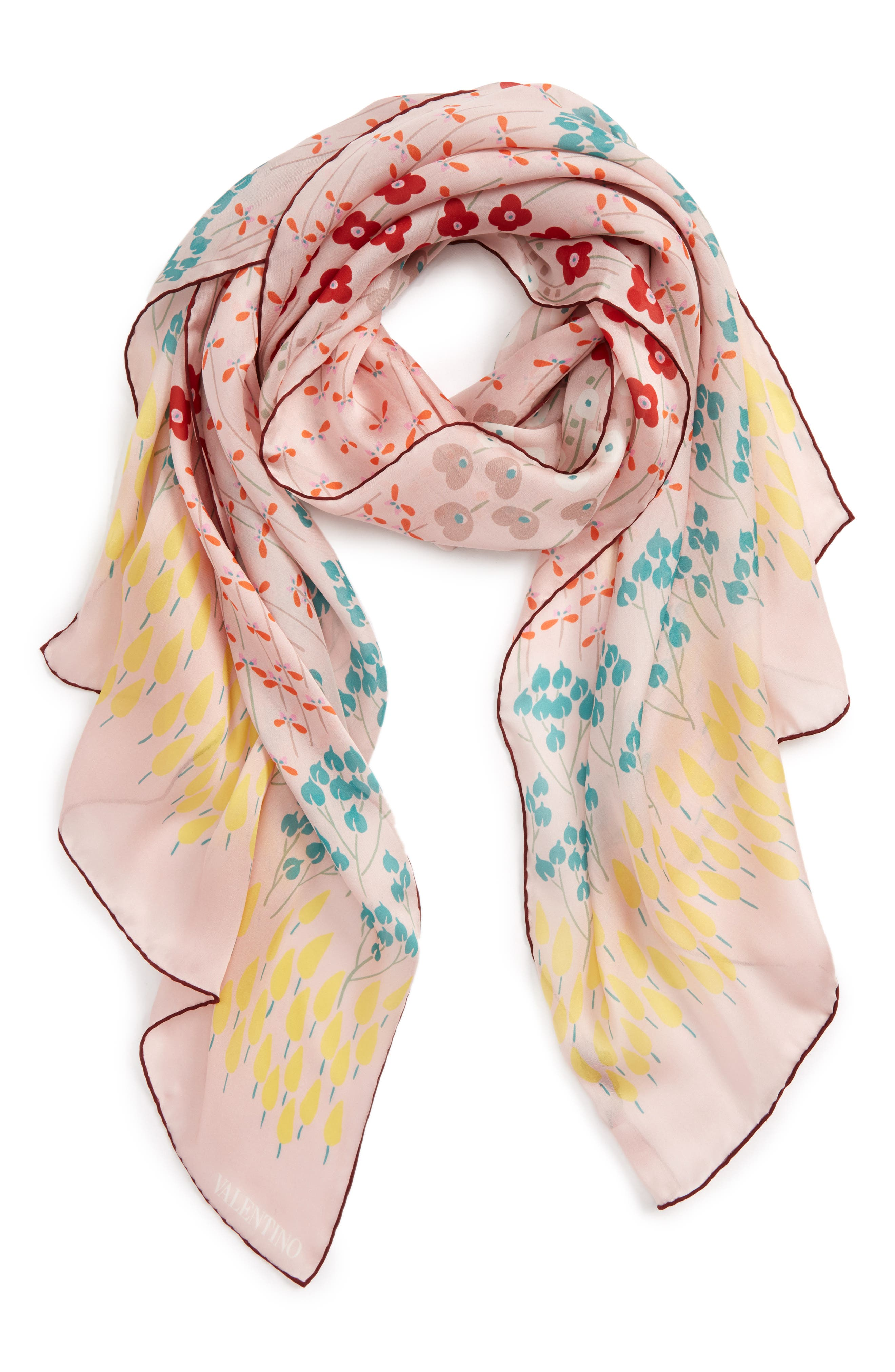 Alternate Image 2  - Valentino Flower Rows Silk Scarf
