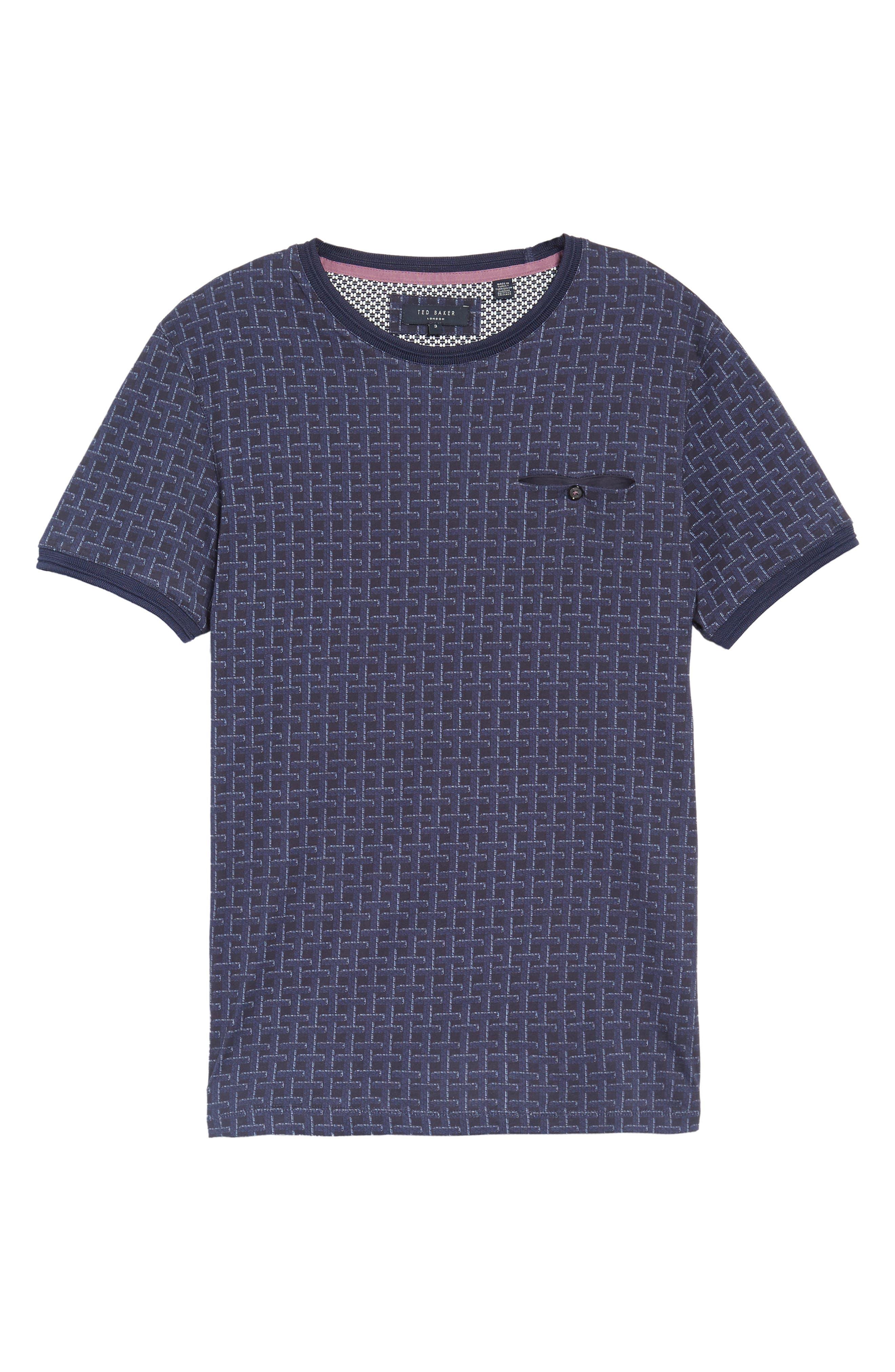 Hillman Print Pocket T-Shirt,                             Alternate thumbnail 5, color,                             Mid Blue