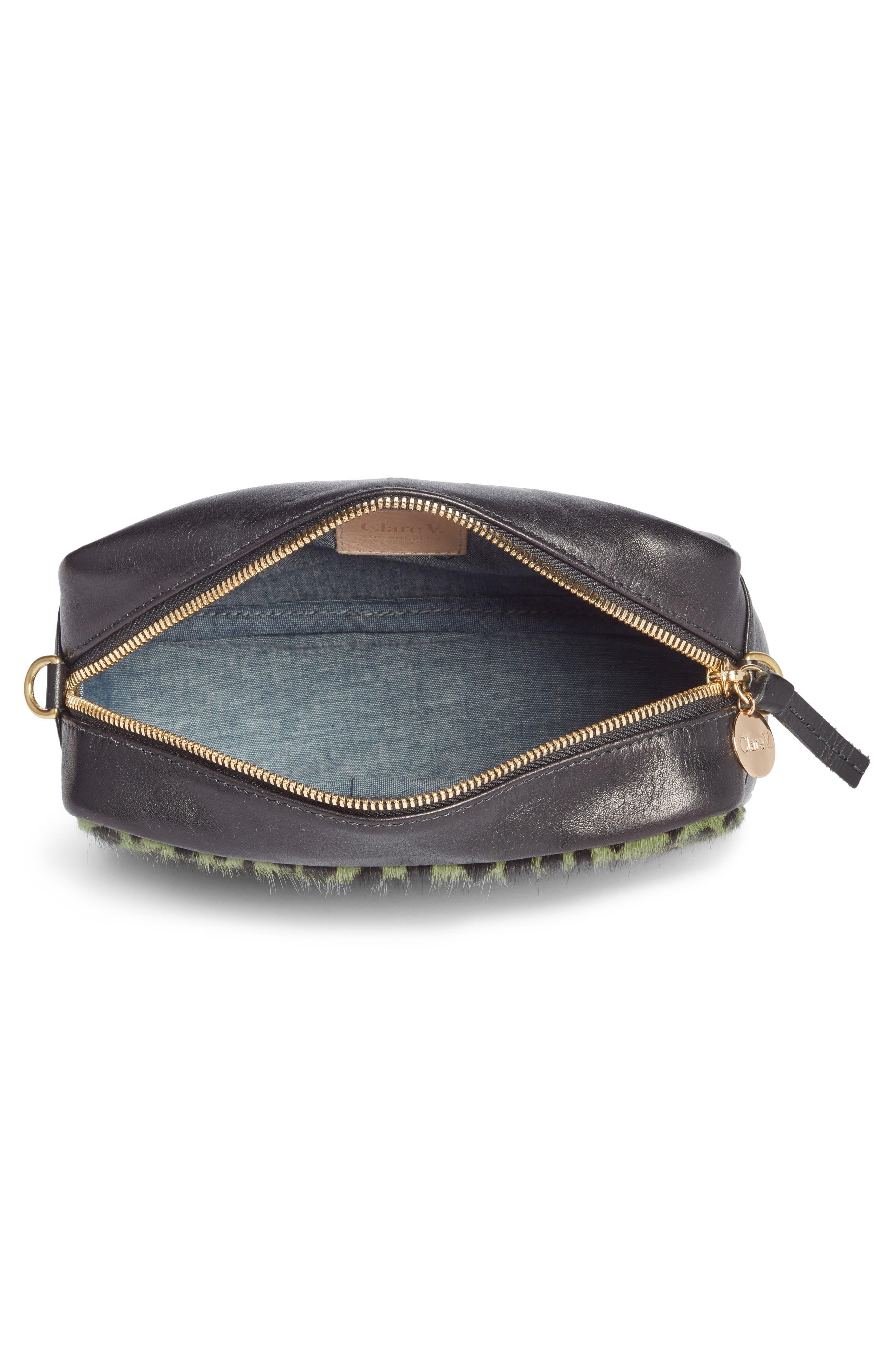 Midi Sac Leather & Genuine Calf Hair Shoulder Bag,                             Alternate thumbnail 4, color,                             Agave Leopard