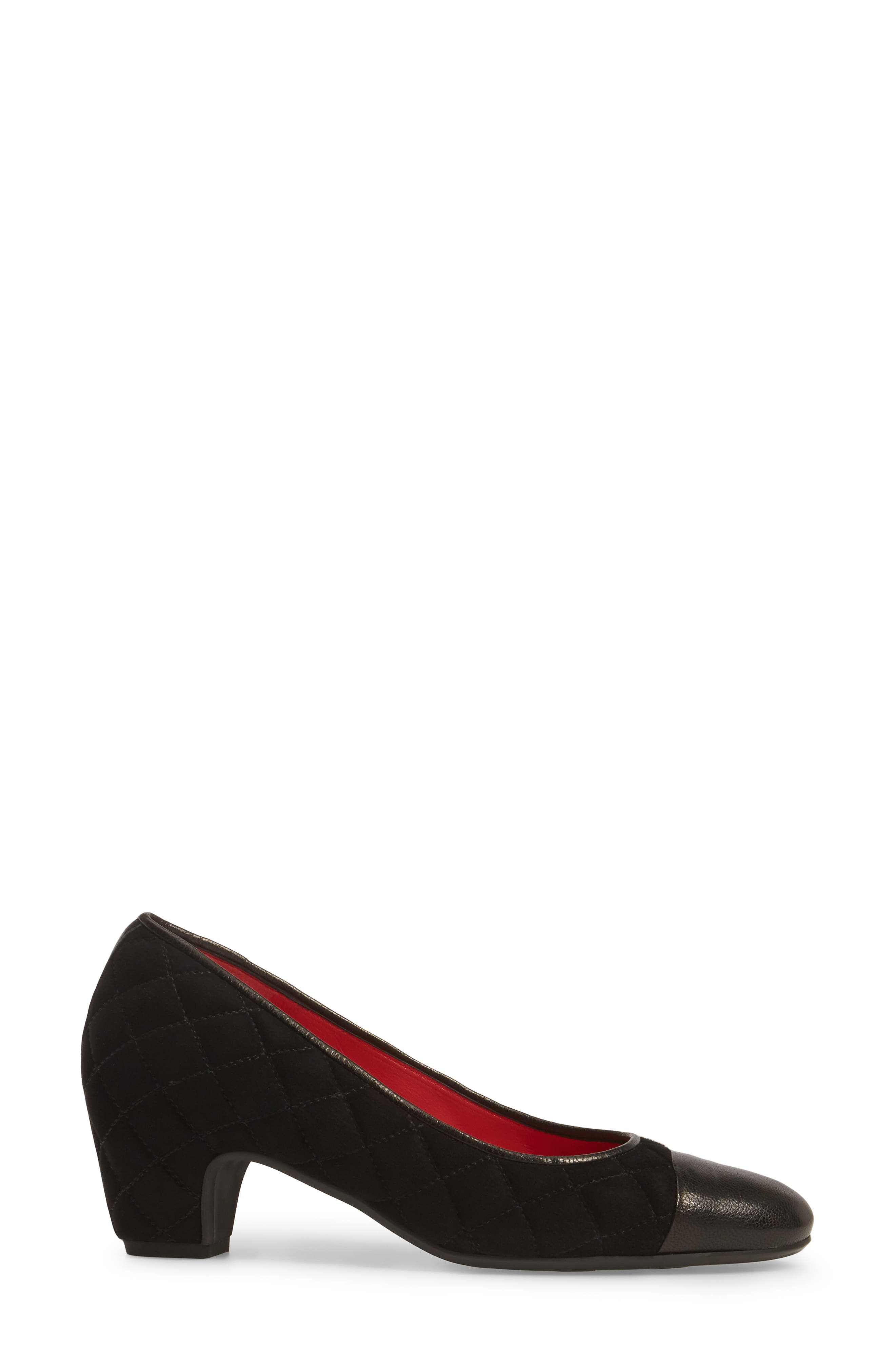 Quilted Cap Toe Pump,                             Alternate thumbnail 3, color,                             Black Suede/ Black Leather