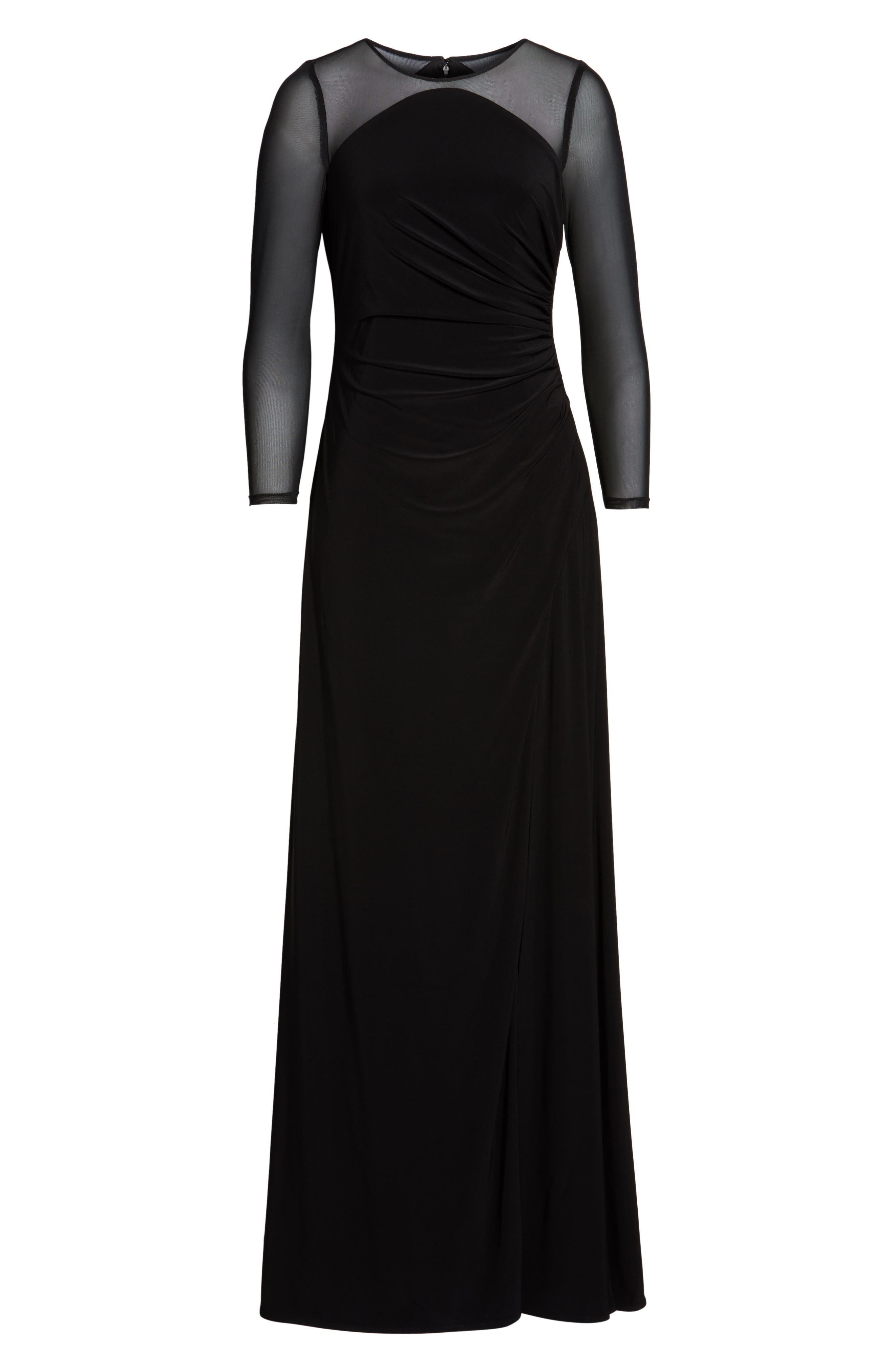 Illusion Jersey Gown,                             Alternate thumbnail 6, color,                             Black