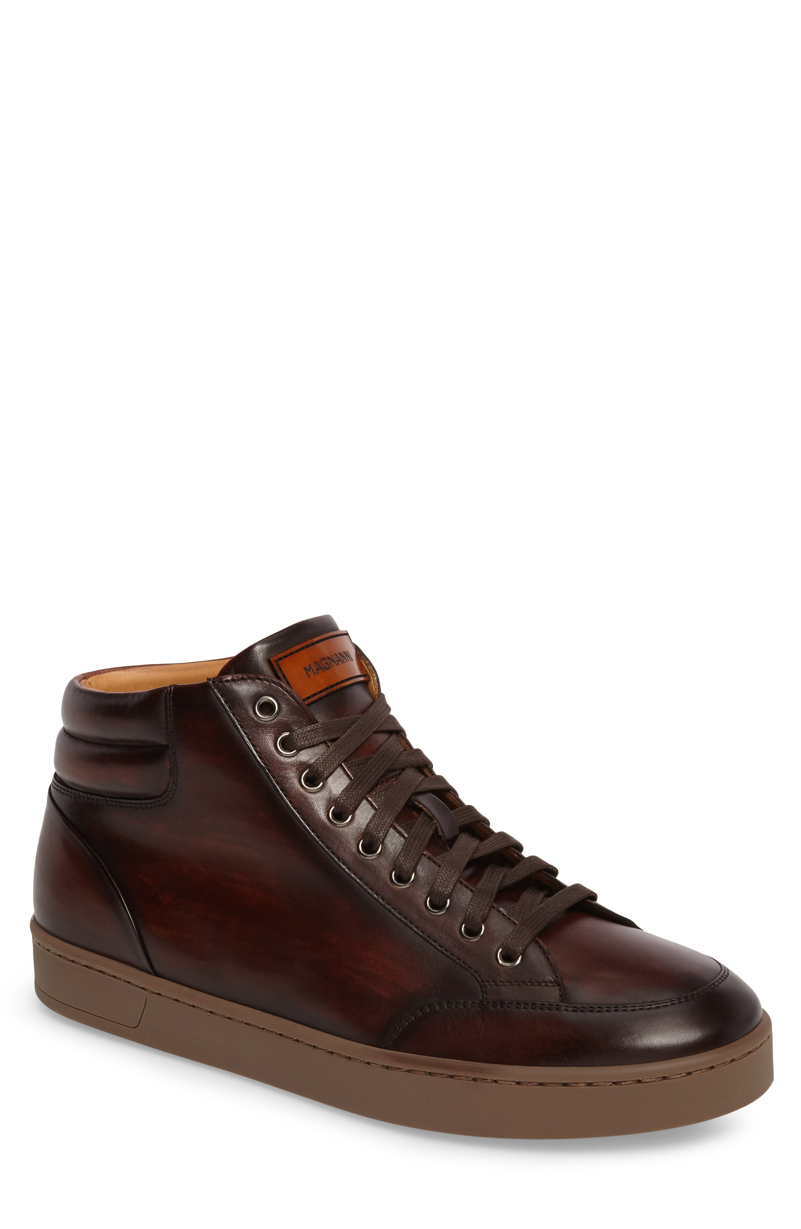 Carmel Sneaker,                             Main thumbnail 1, color,                             Mid Brown Leather