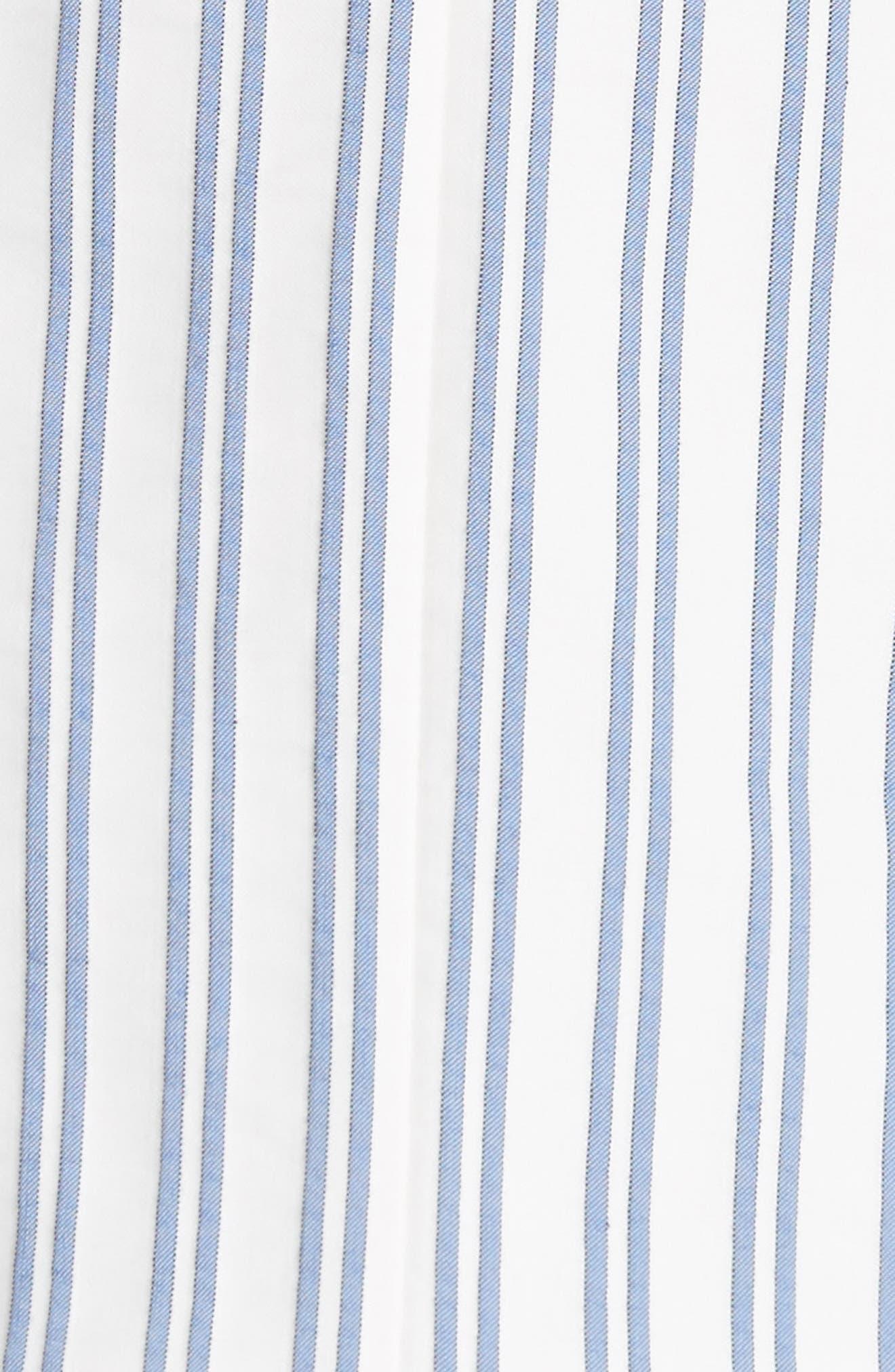 Stripe Cotton Blouse,                             Alternate thumbnail 4, color,                             Blue / Chalk