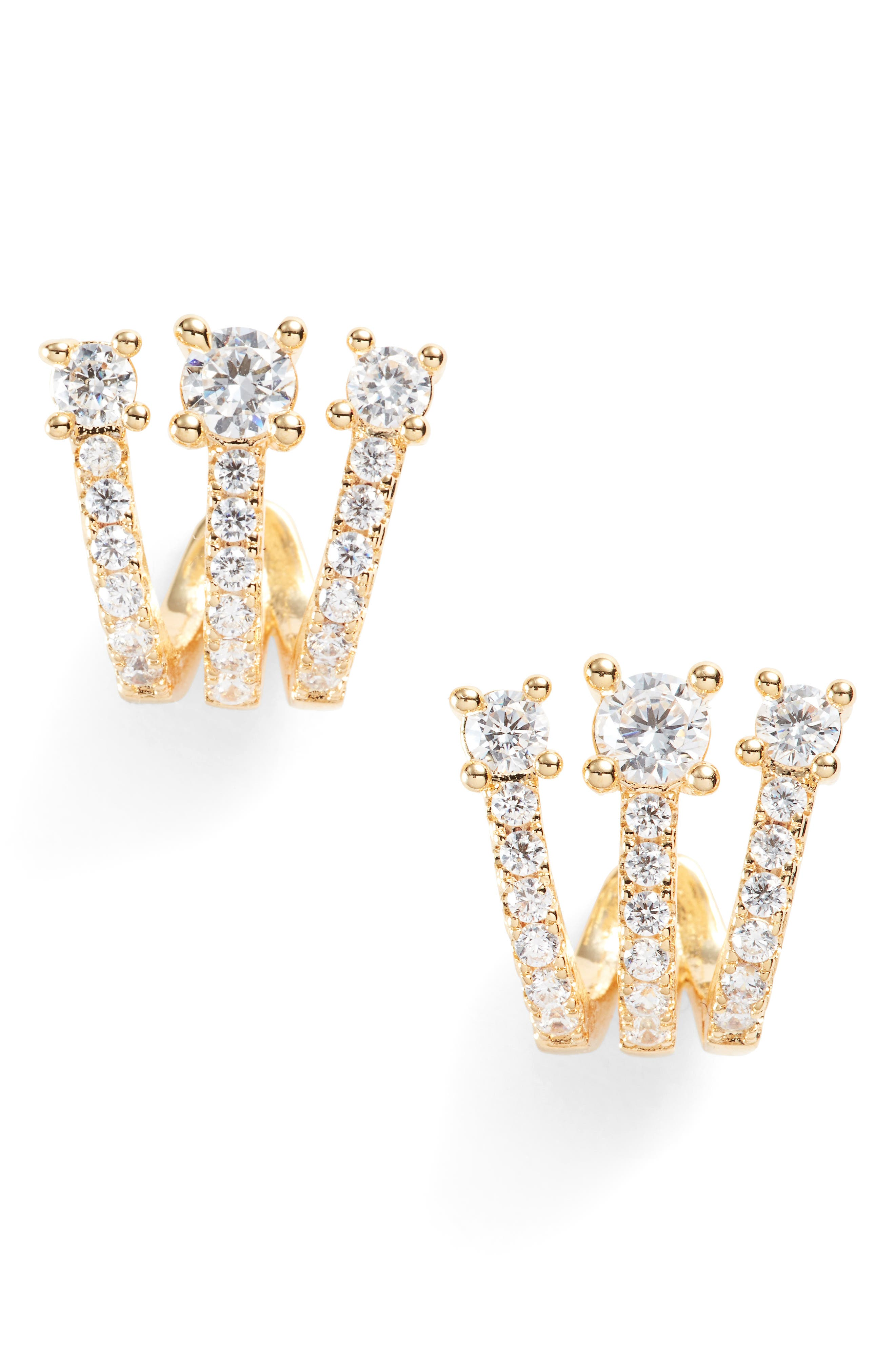 MELINDA MARIA Katherine Crystal Huggie Earrings