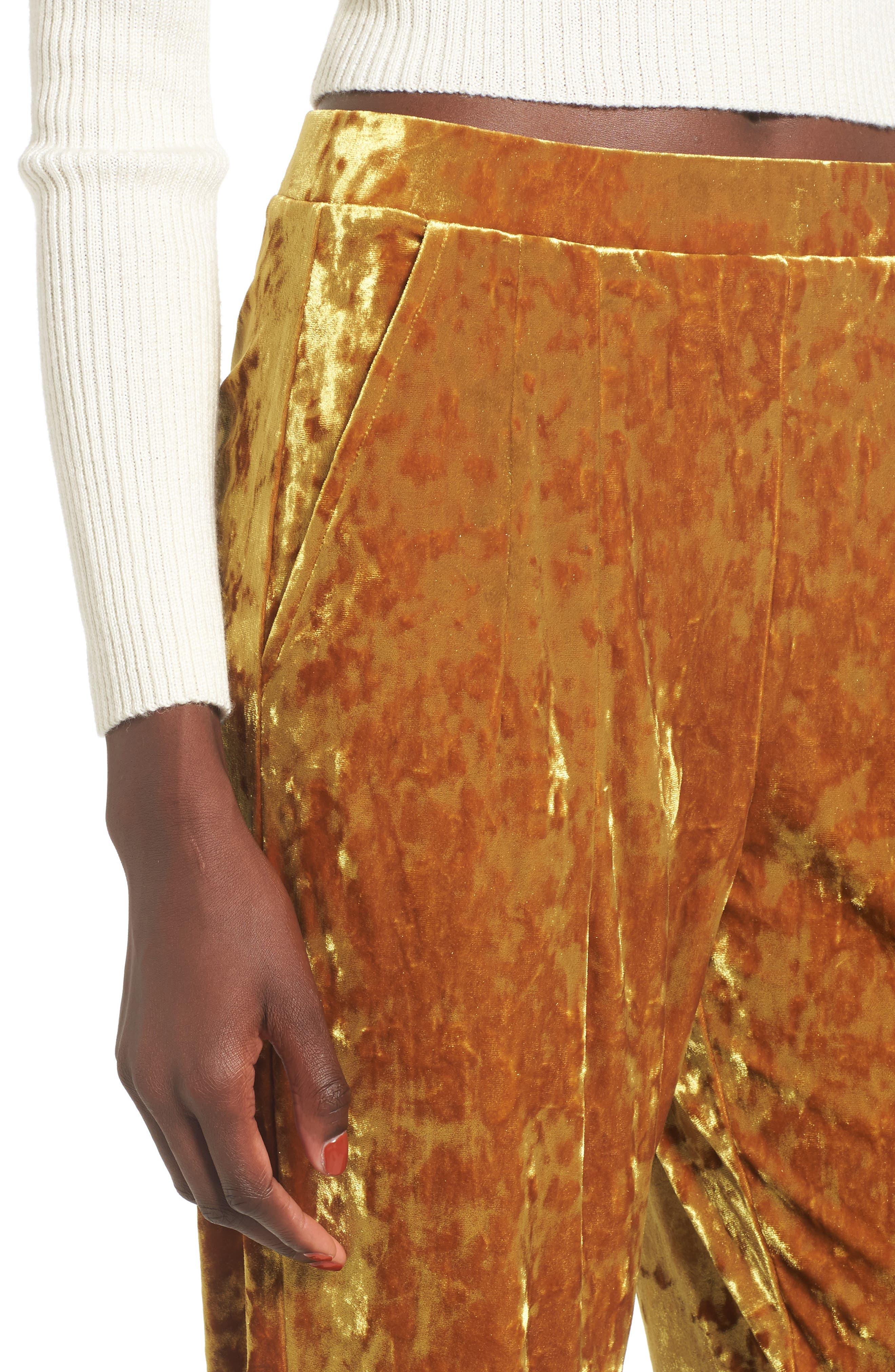 Alternate Image 4  - Leith Pleat Front Velour Pants