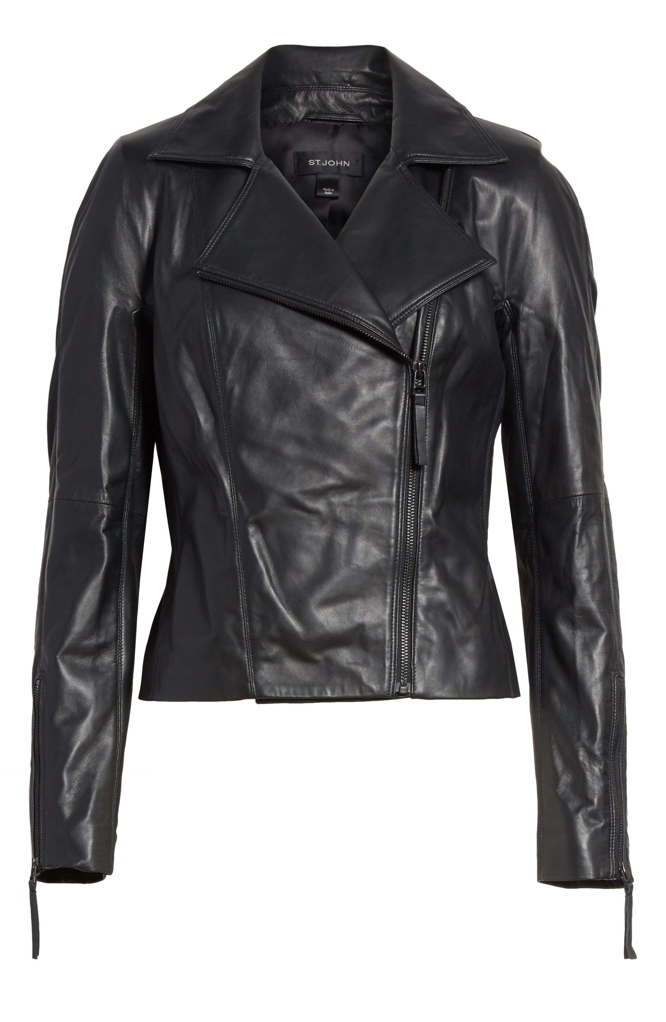 Nappa Leather Moto Jacket,                             Alternate thumbnail 6, color,                             Caviar