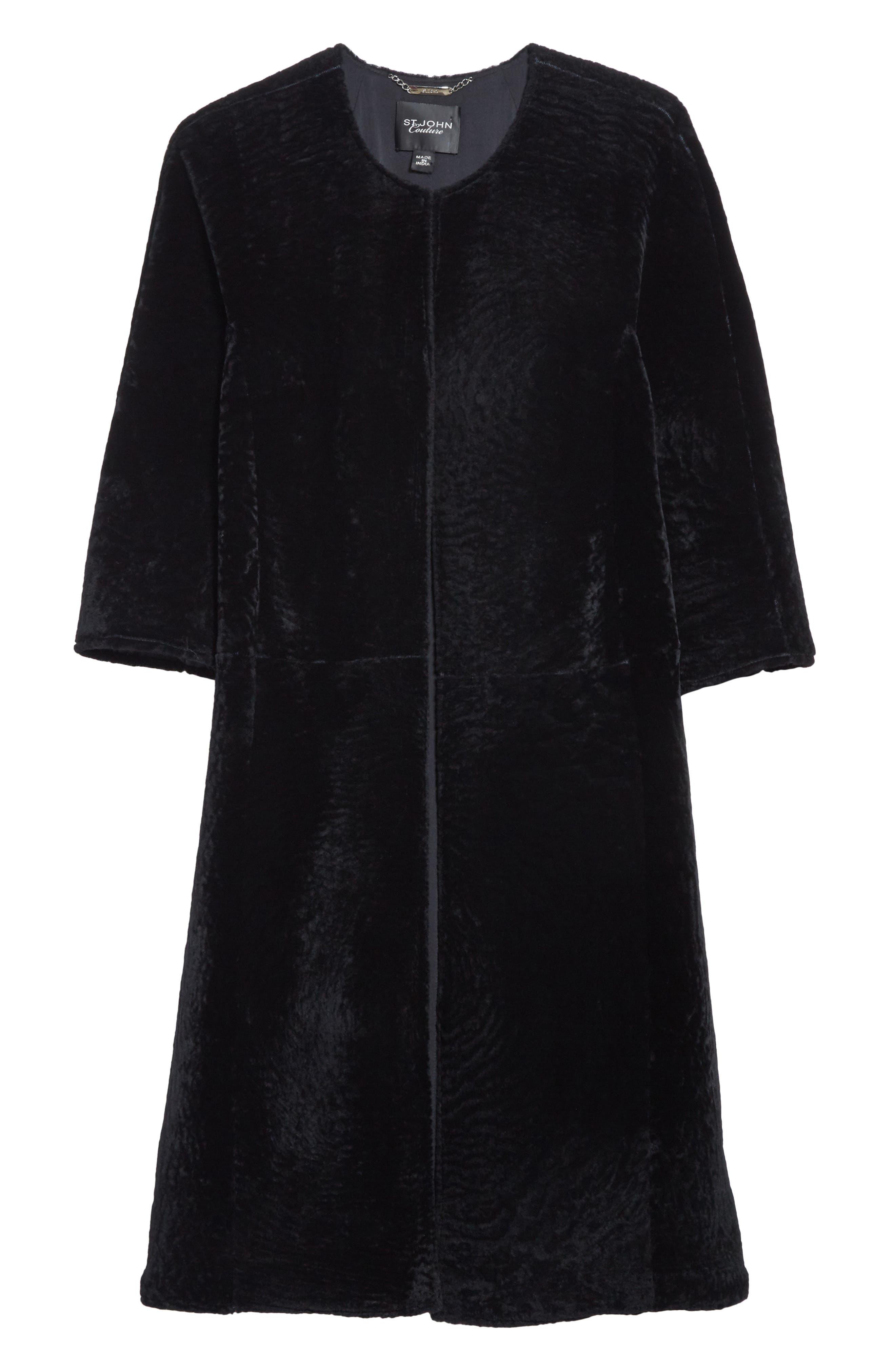 Genuine Textured Lamb Fur Jacket,                             Alternate thumbnail 7, color,                             Caviar