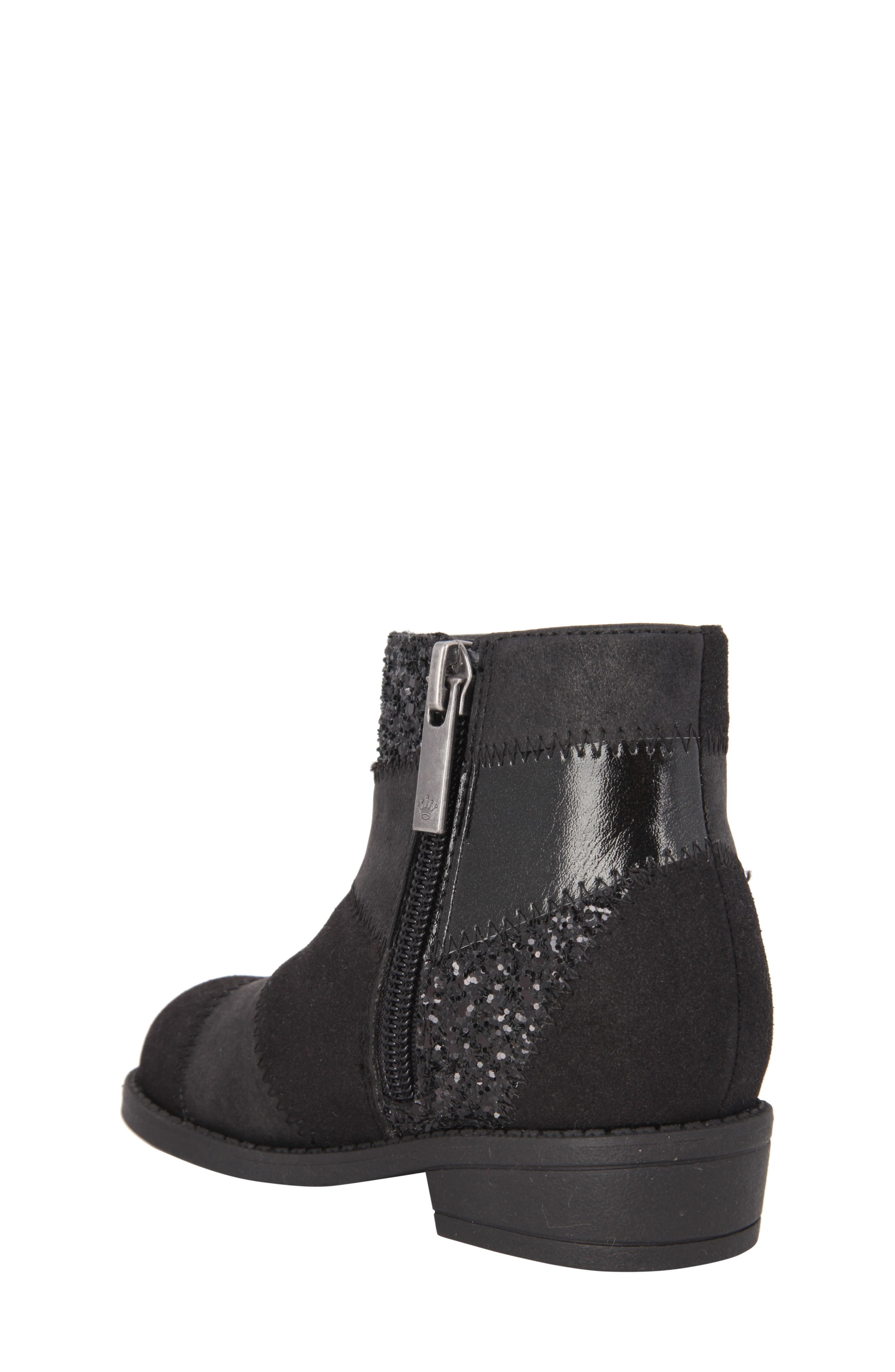 Ines Glittery Patchwork Bootie,                             Alternate thumbnail 2, color,                             Black Metallic/ Black Glitter