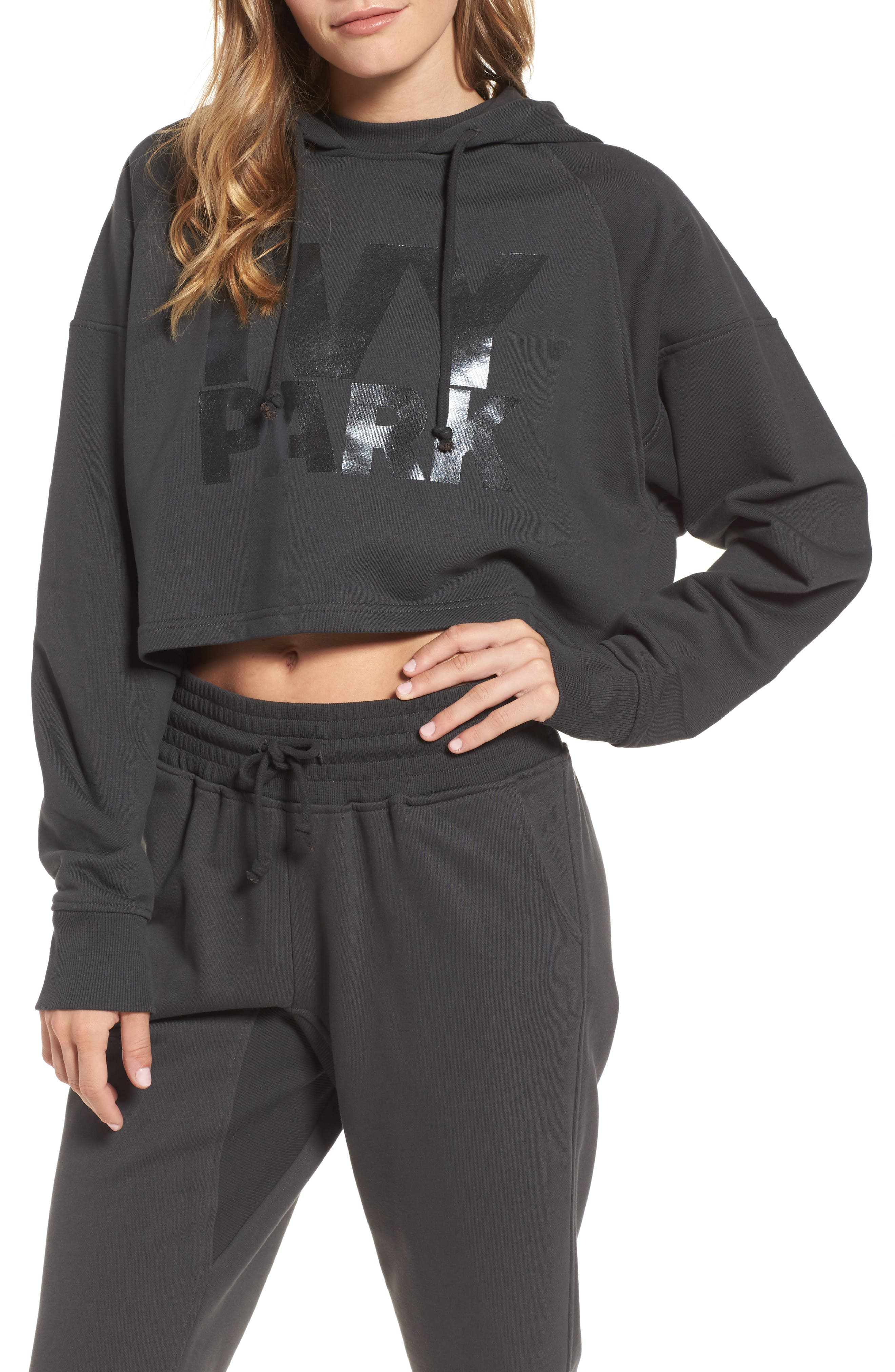 Alternate Image 1 Selected - IVY PARK® Washed Jersey Logo Crop Hoodie