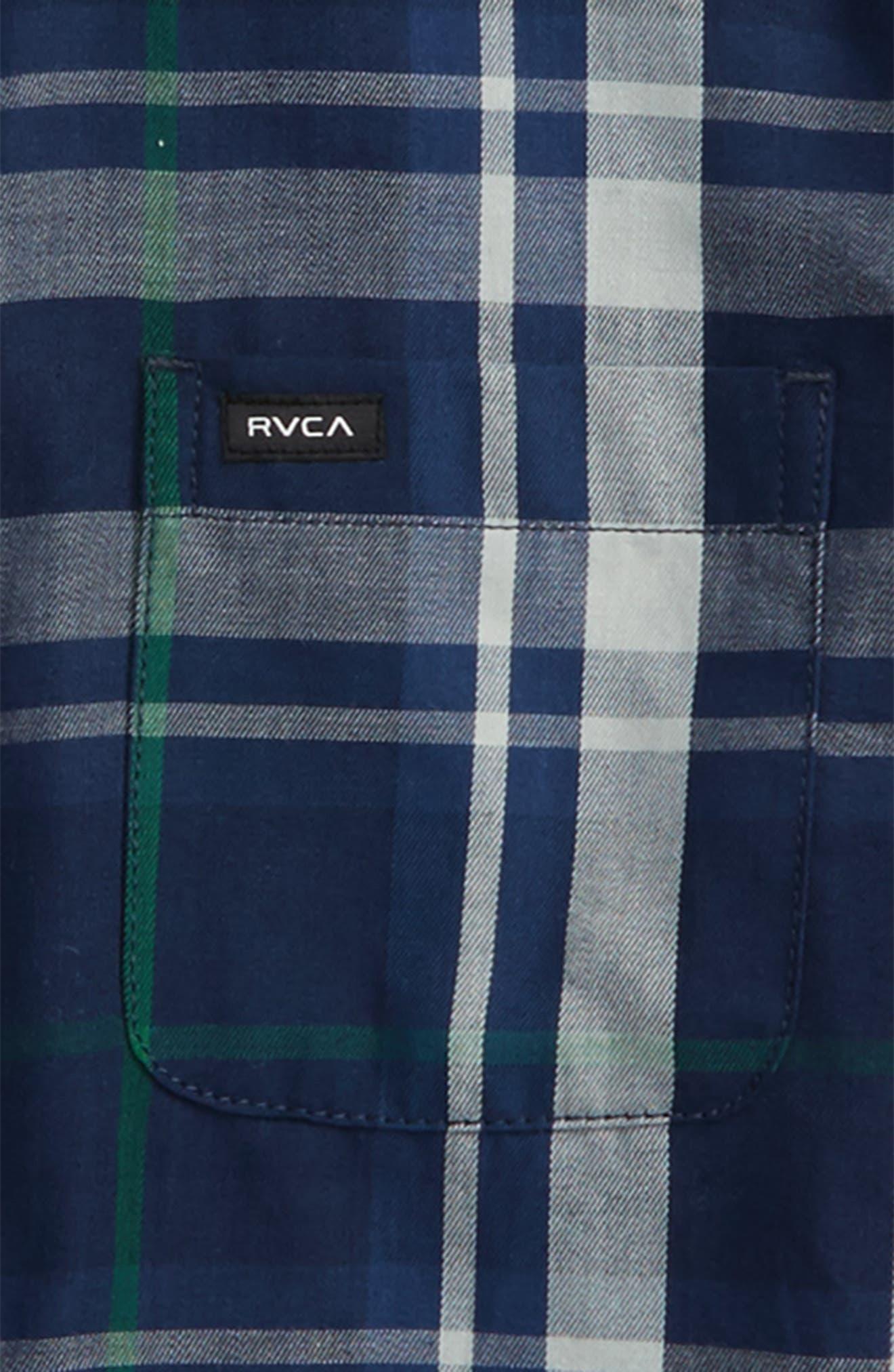 Alternate Image 2  - RVCA Plaid Woven Shirt (Big Boys)