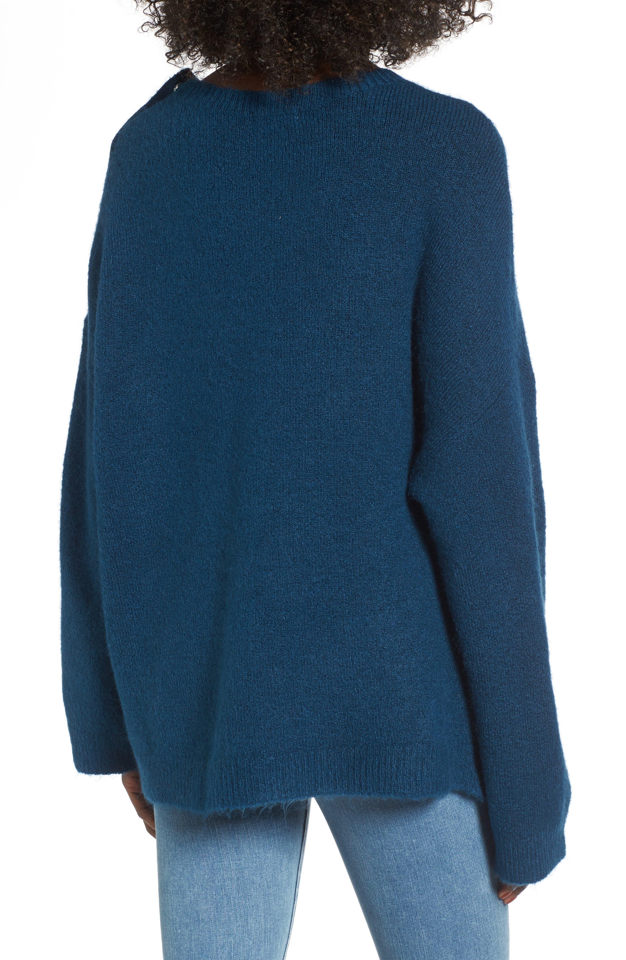 Snap Shoulder Sweater,                             Alternate thumbnail 2, color,                             Blue Ceramic