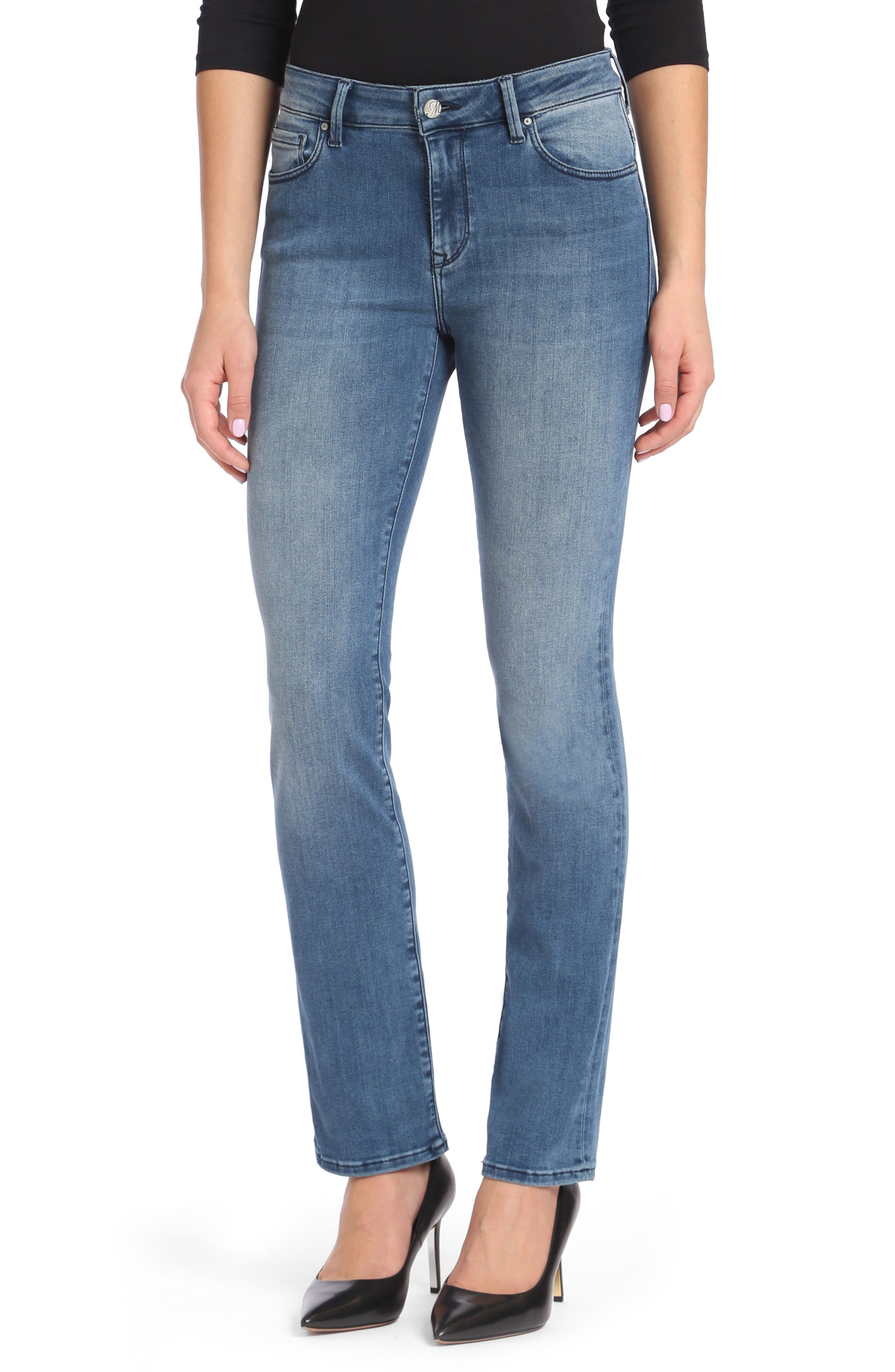 Kendra High Waist Straight Leg Jeans,                             Main thumbnail 1, color,                             Light Foggy Blue Tribeca