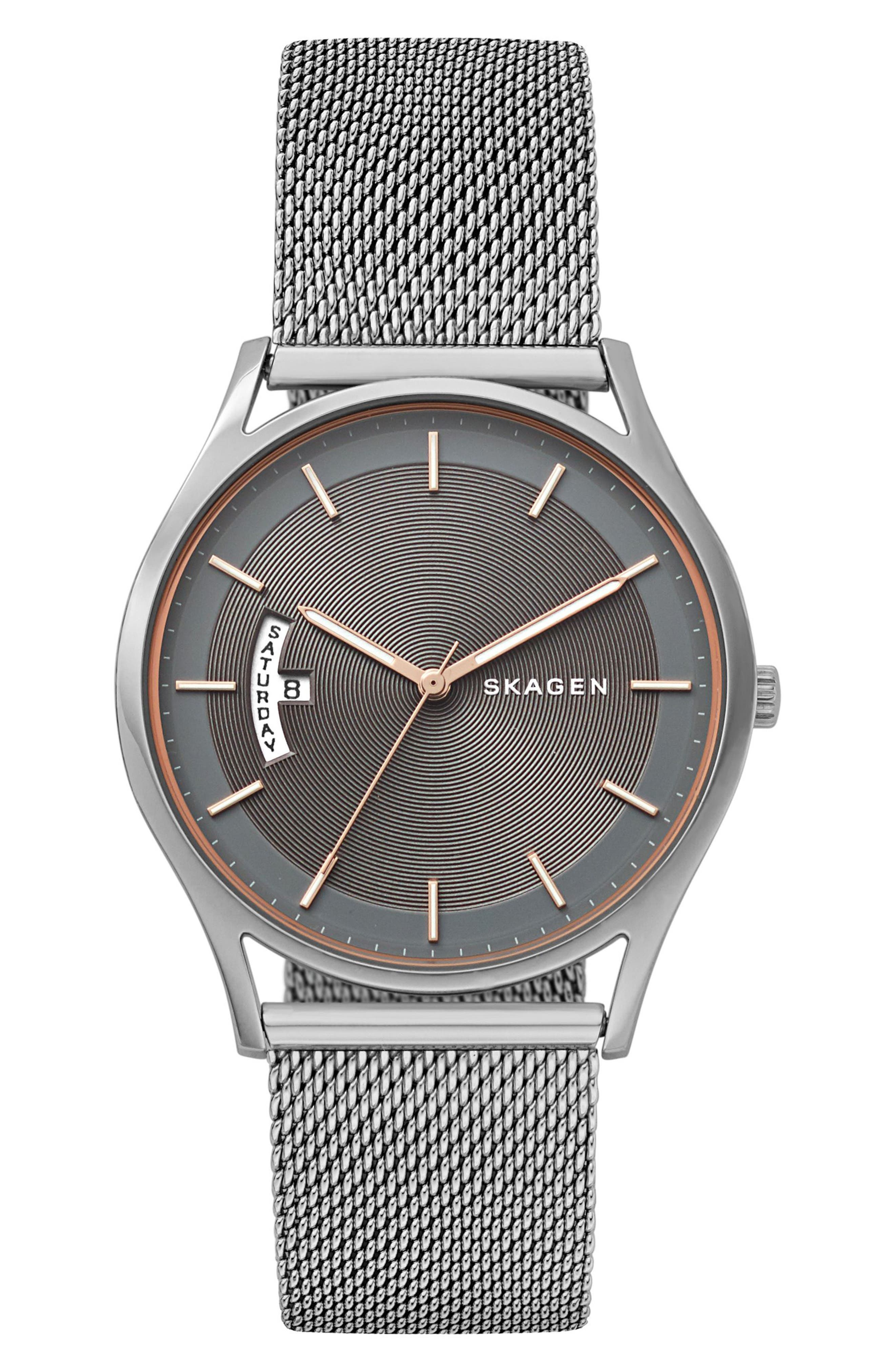 Holst Mesh Strap Watch, 40mm,                         Main,                         color, Silver/ Grey/ Silver