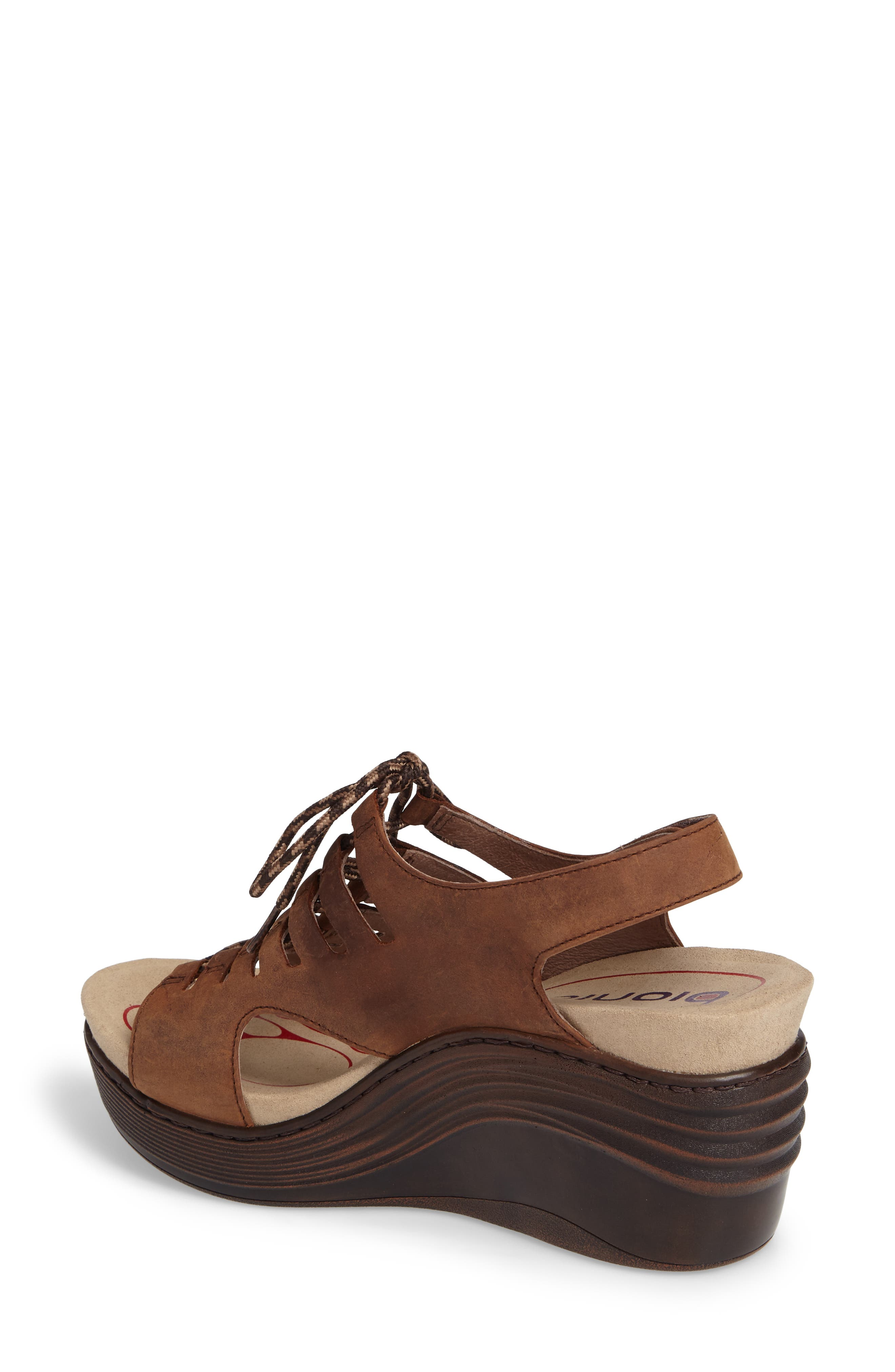 Sirus Wedge Sandal,                             Alternate thumbnail 2, color,                             Aztec Brown Leather