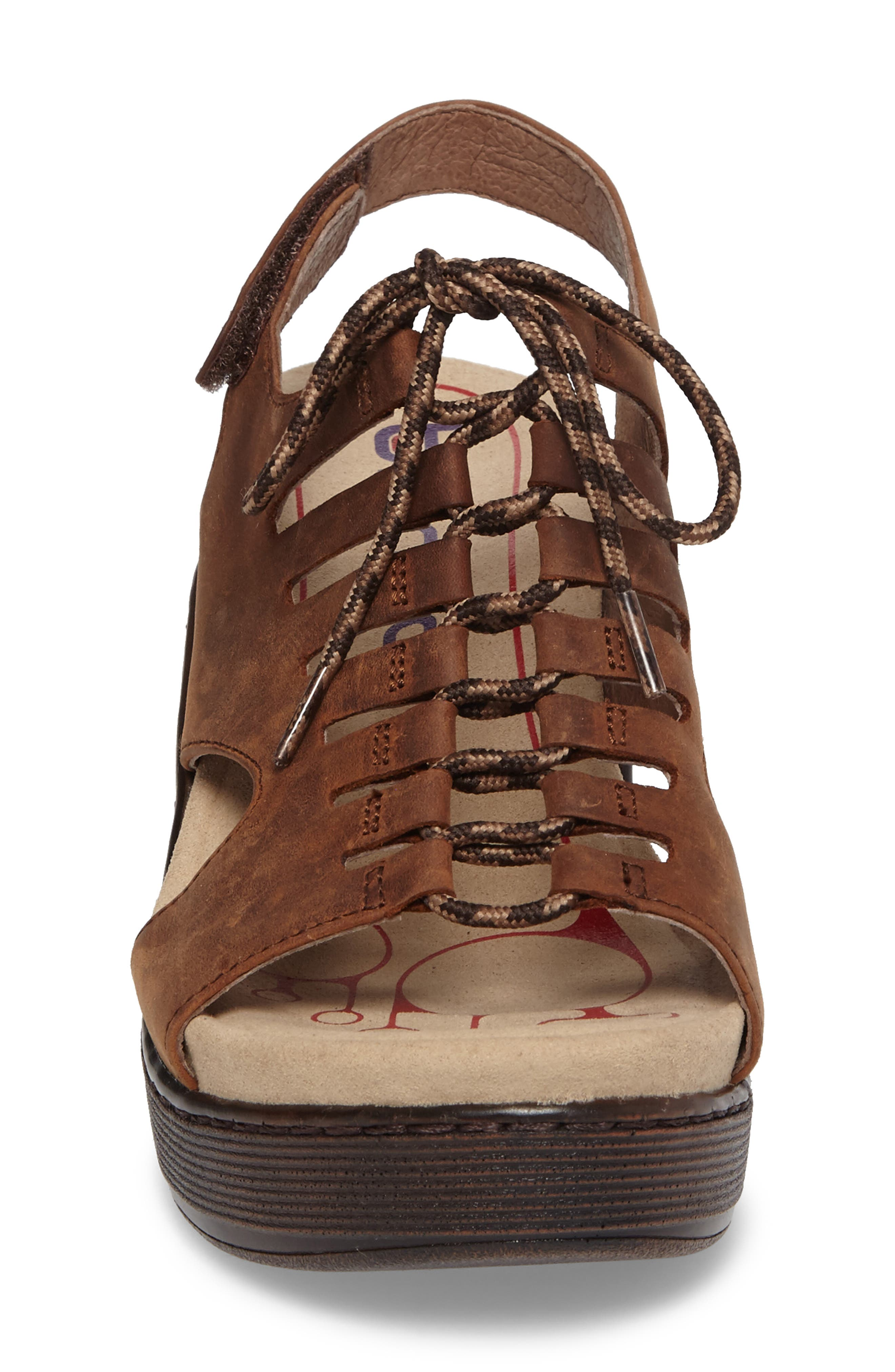 Sirus Wedge Sandal,                             Alternate thumbnail 4, color,                             Aztec Brown Leather