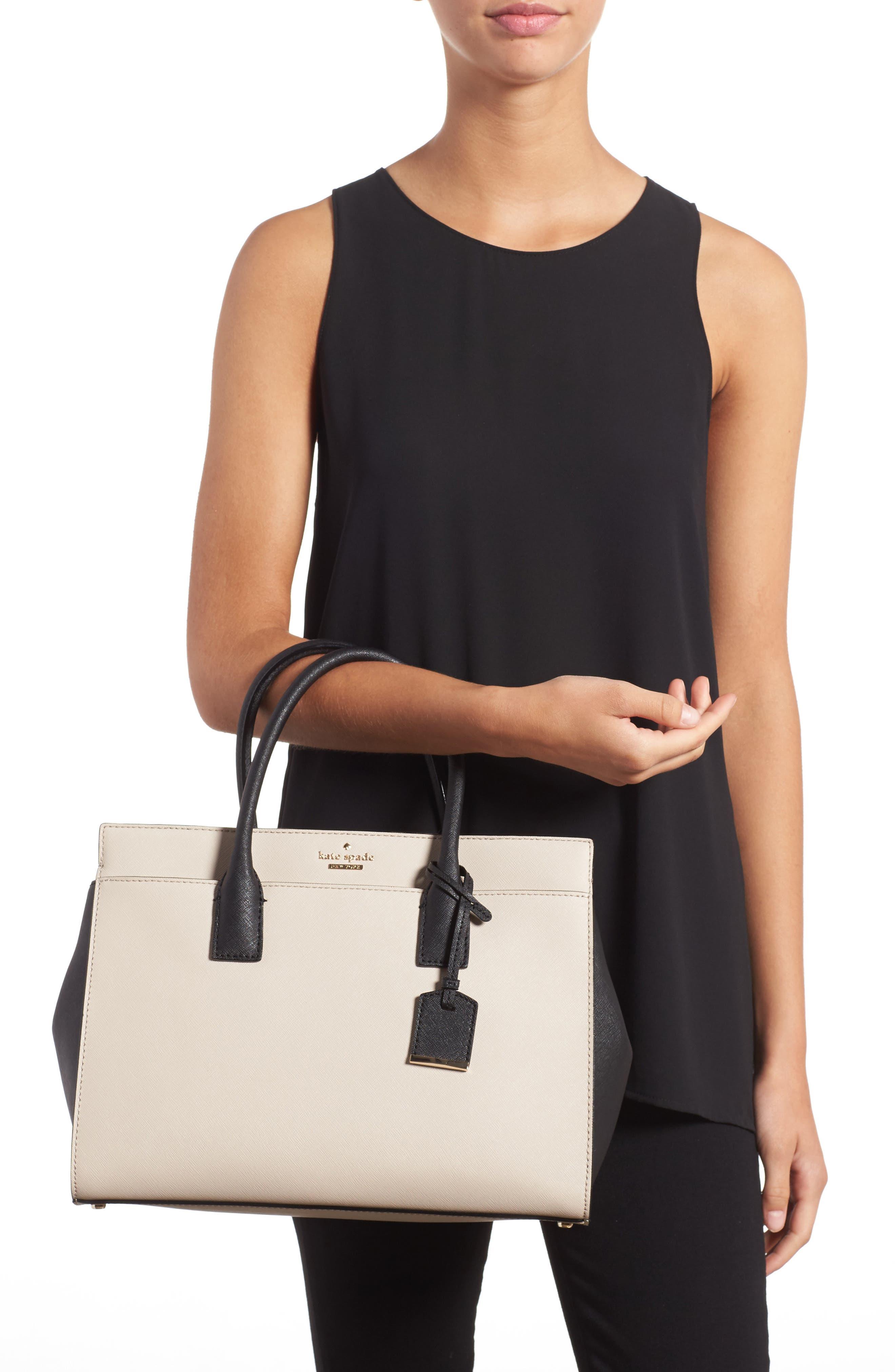 cameron street - candace leather satchel,                             Alternate thumbnail 2, color,                             Tusk/ Black