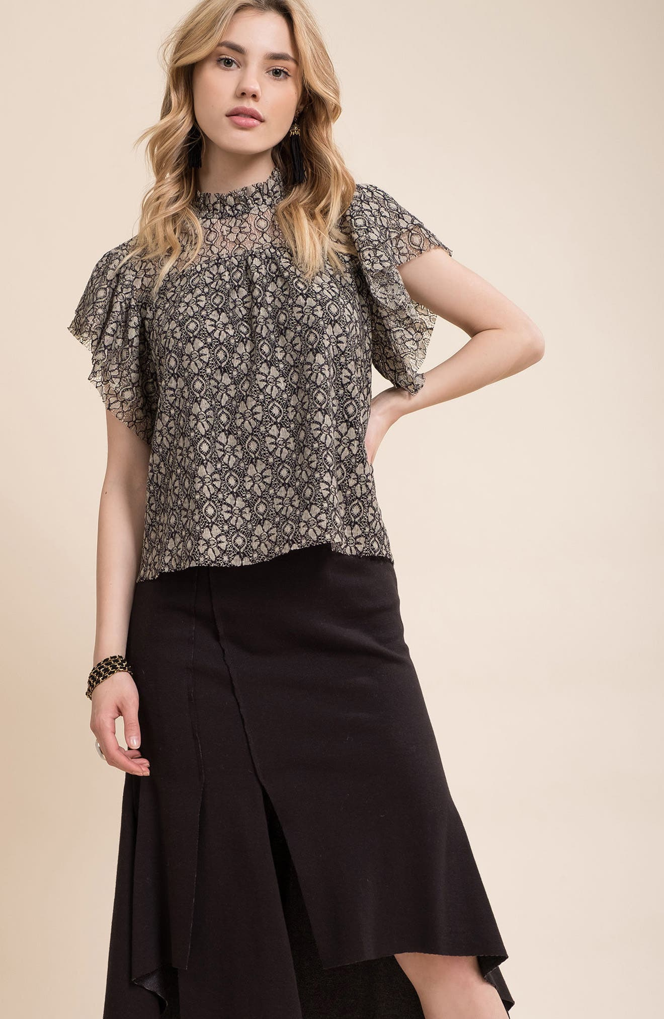 Ruffle Lace Top,                             Alternate thumbnail 7, color,                             Taupe/ Black