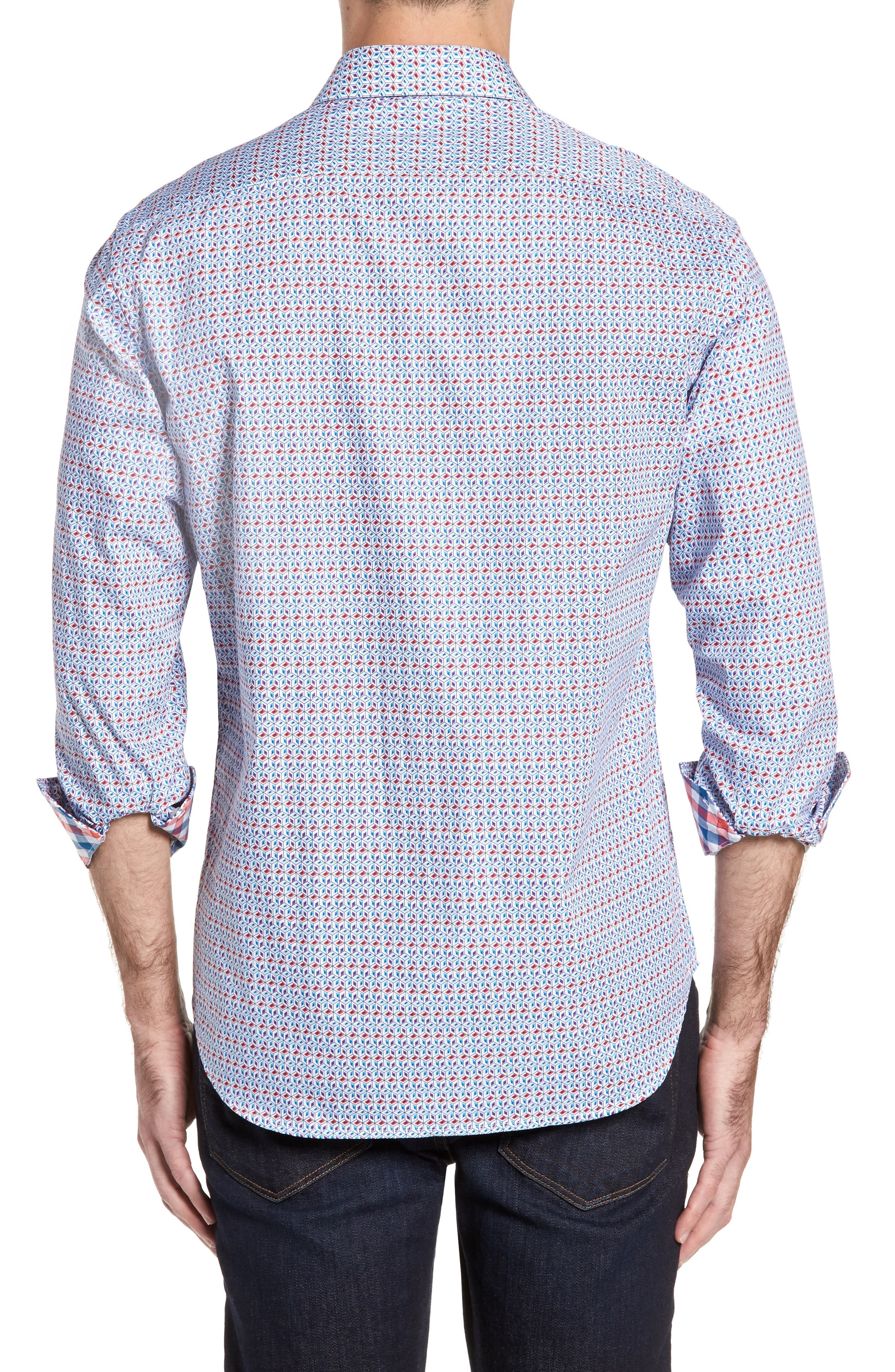 Angia Print Sport Shirt,                             Alternate thumbnail 2, color,                             Blue
