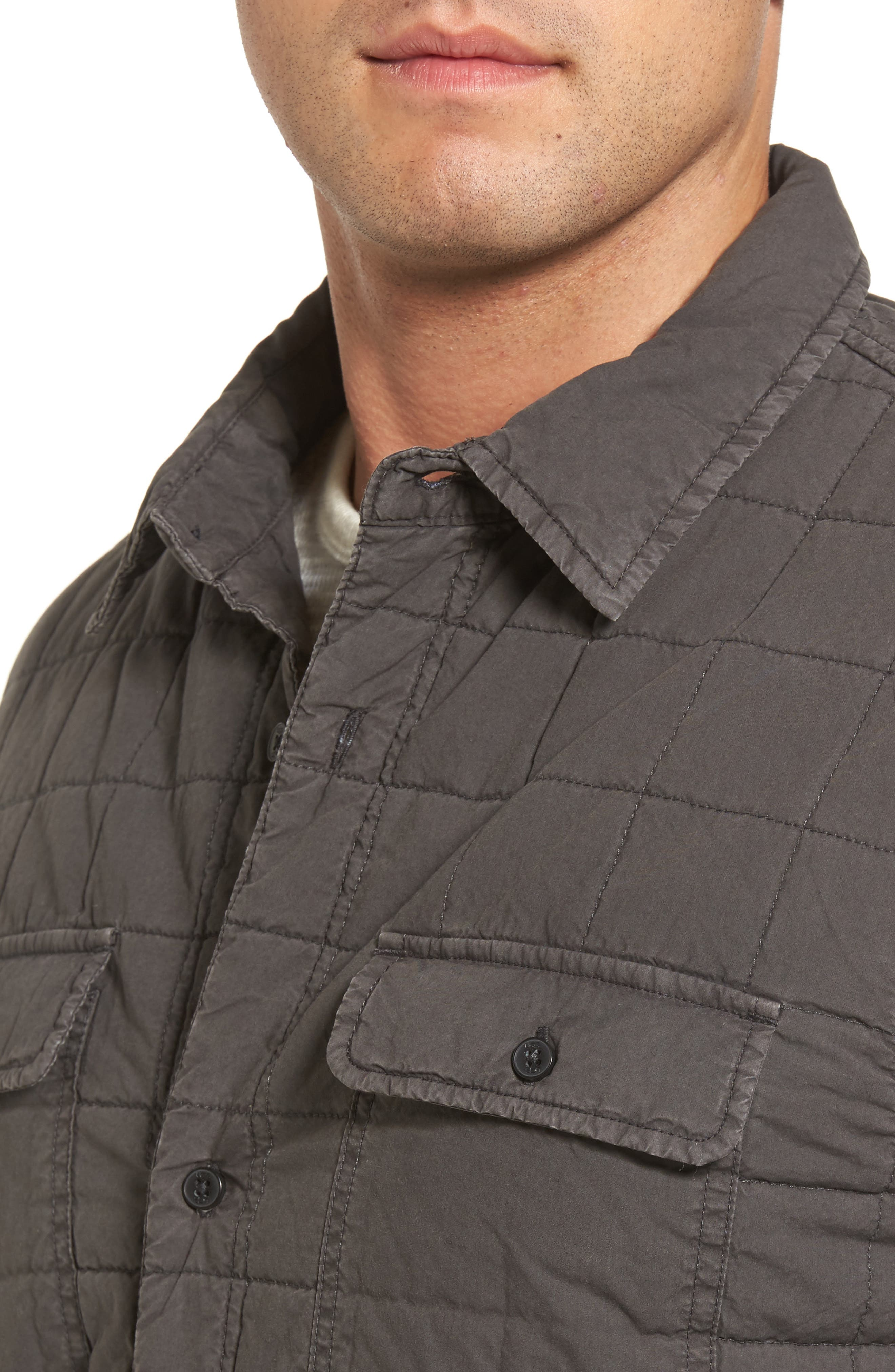 Quilted Shirt Jacket,                             Alternate thumbnail 4, color,                             Off Black