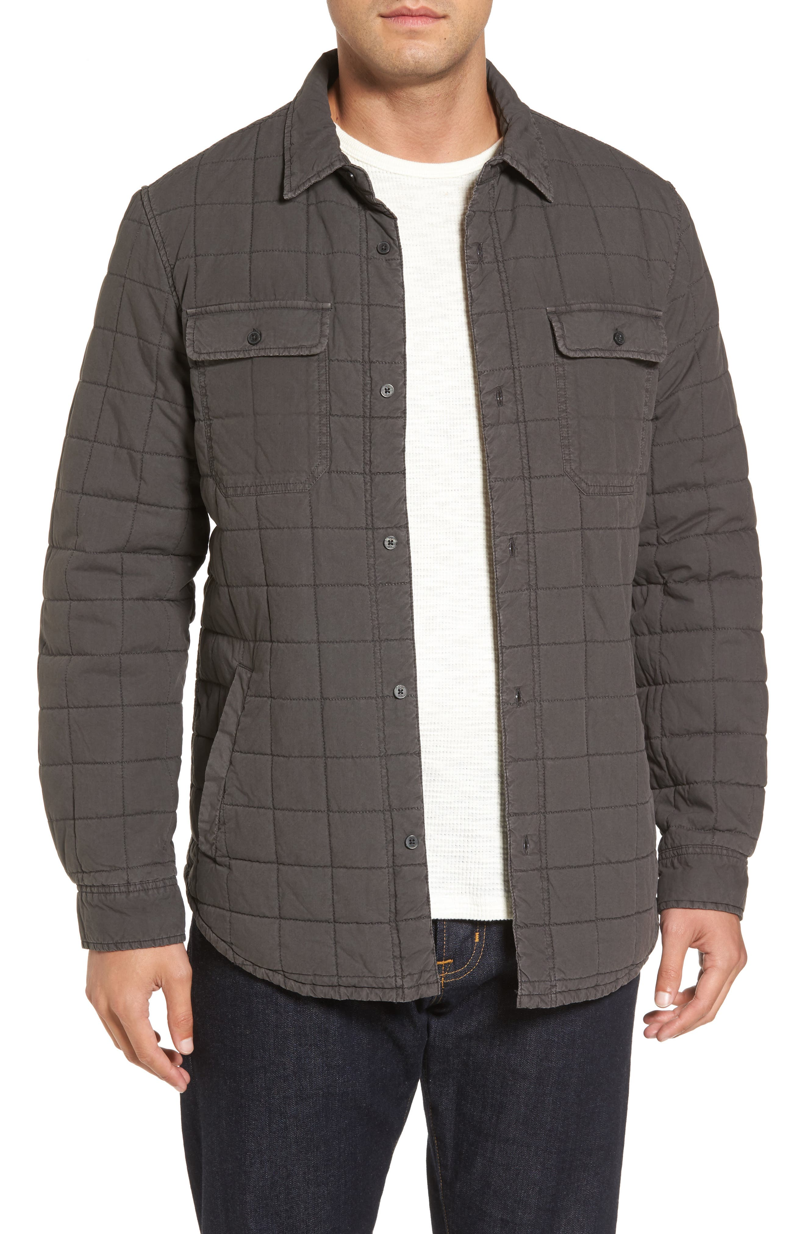 Quilted Shirt Jacket,                         Main,                         color, Off Black