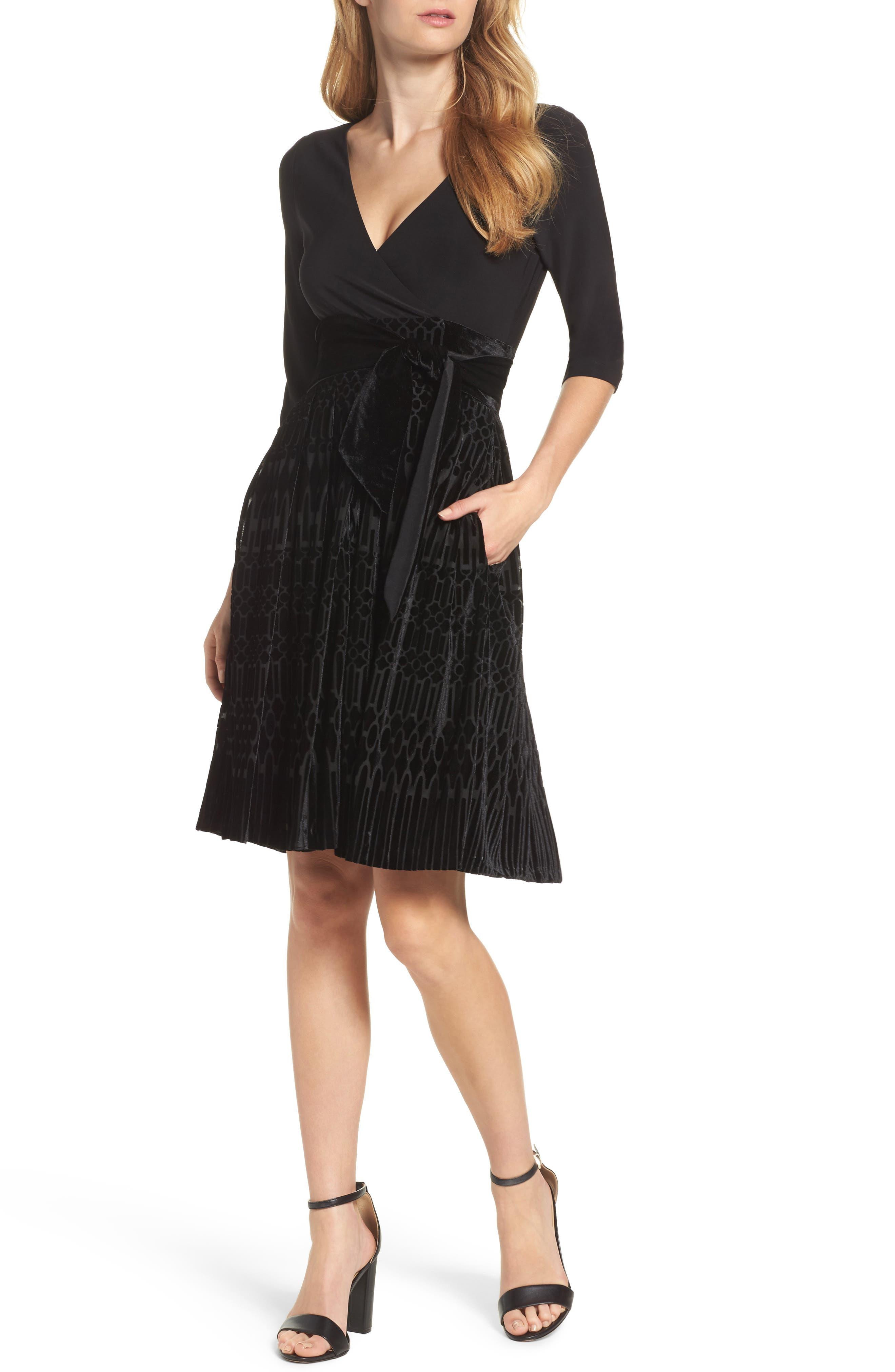 Adrianna Papell Burnout Velvet Wrap Dress