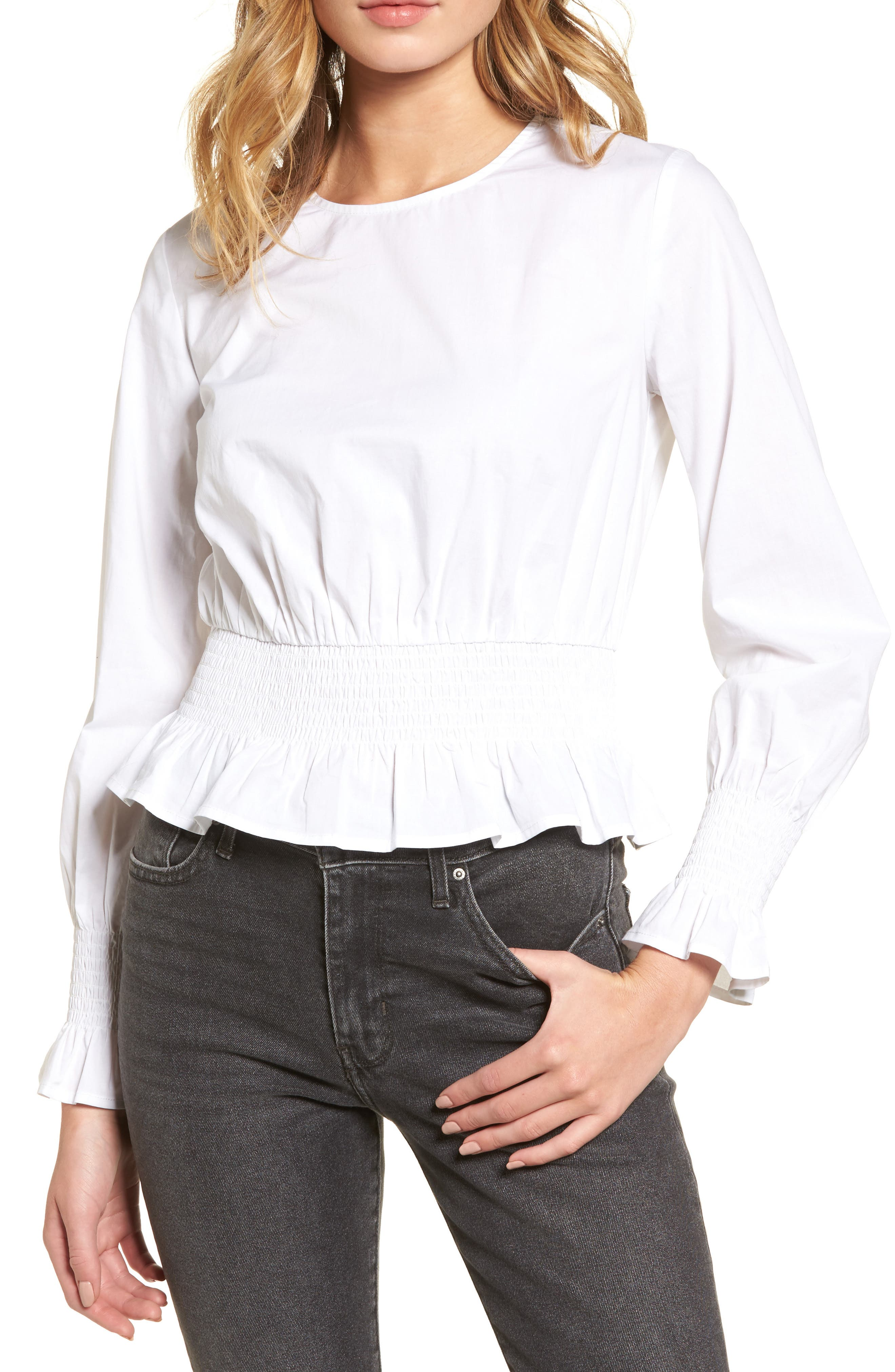 Alternate Image 1 Selected - Chloe & Katie Smocked Waist Peplum Top