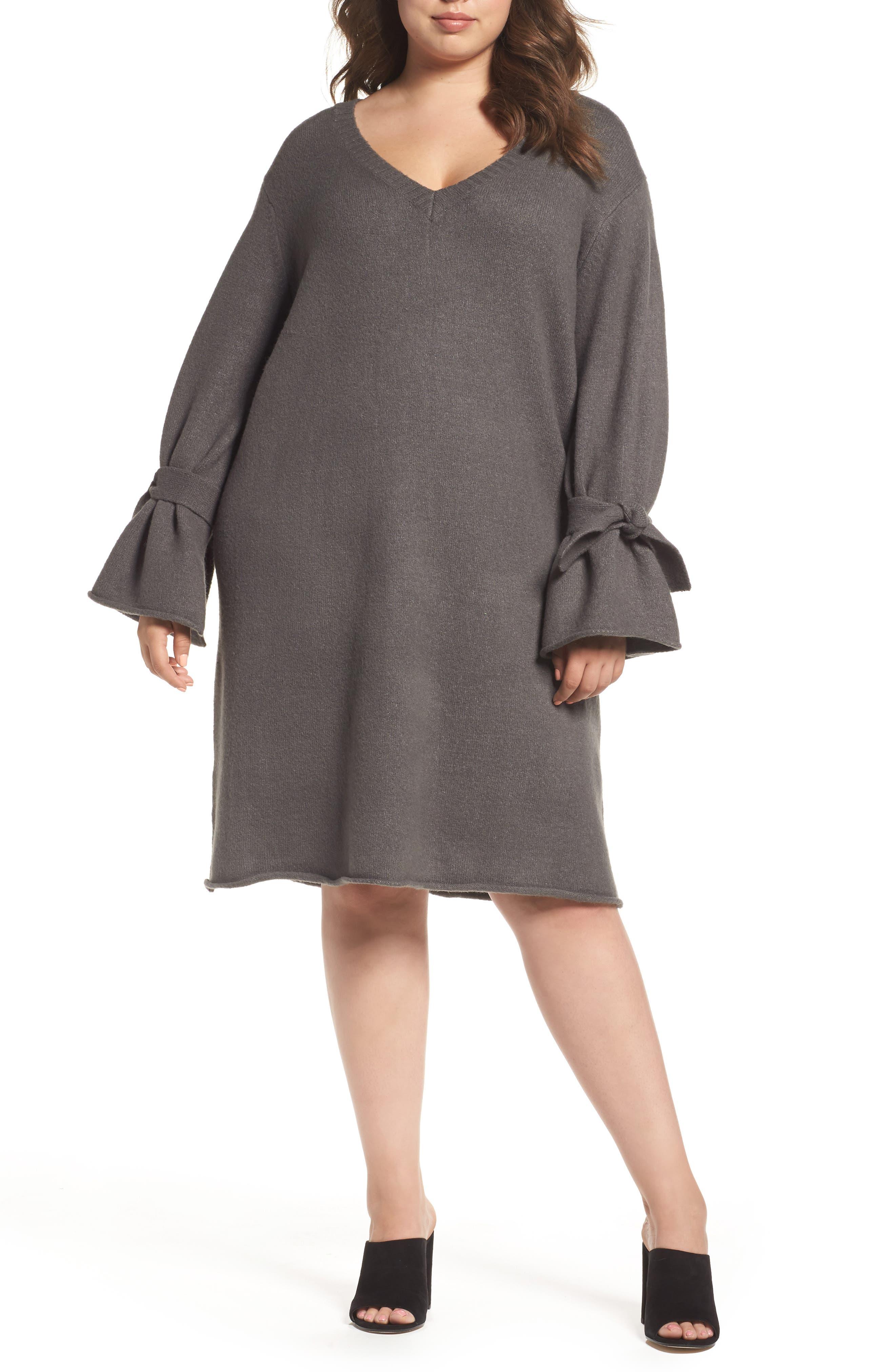 Glamorous Tie Bell Sleeve Sweater Dress (Plus Size)
