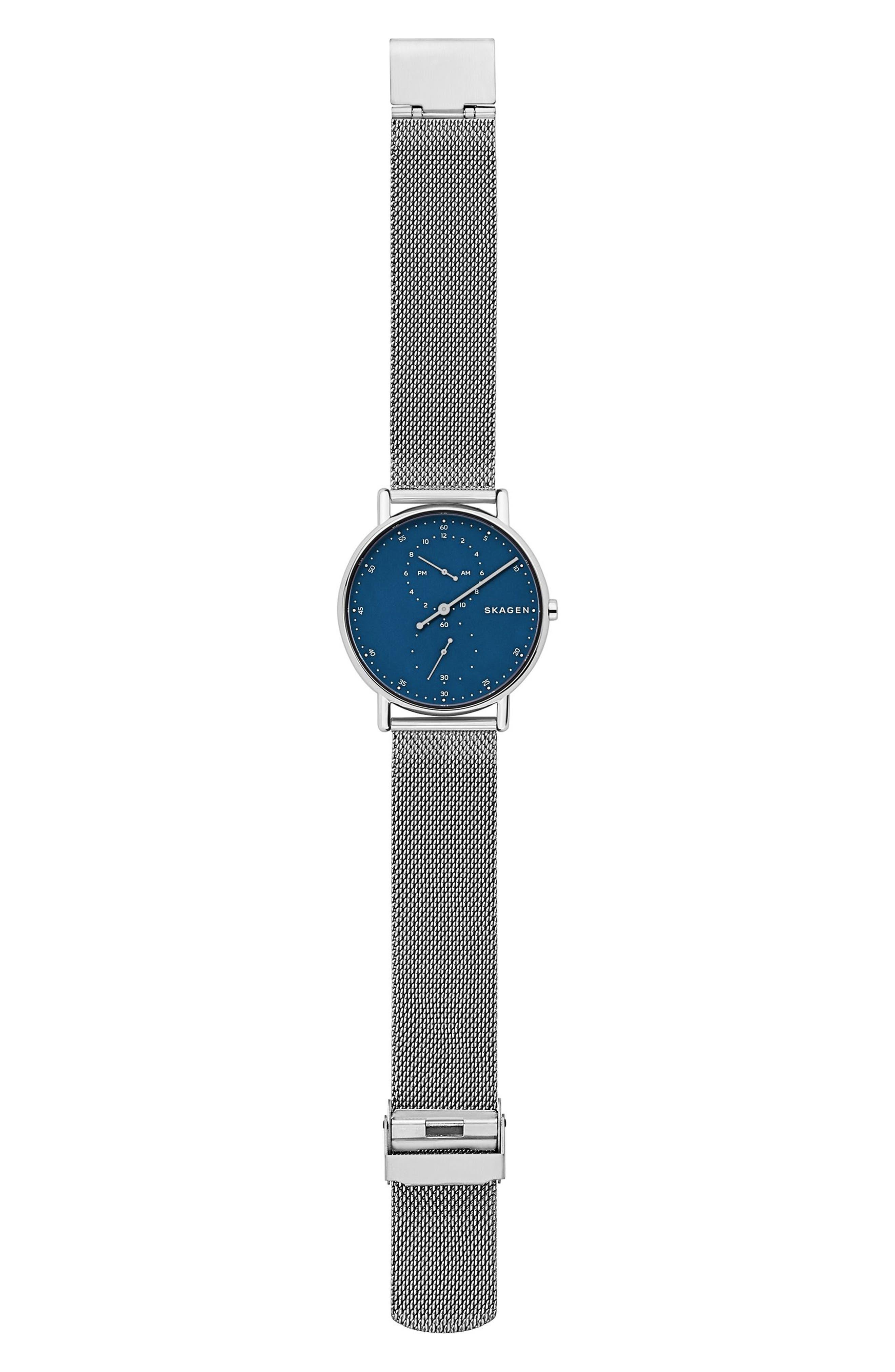 Signatur Mesh Bracelet Watch, 40mm,                             Alternate thumbnail 3, color,                             Silver/ Blue/ Silver