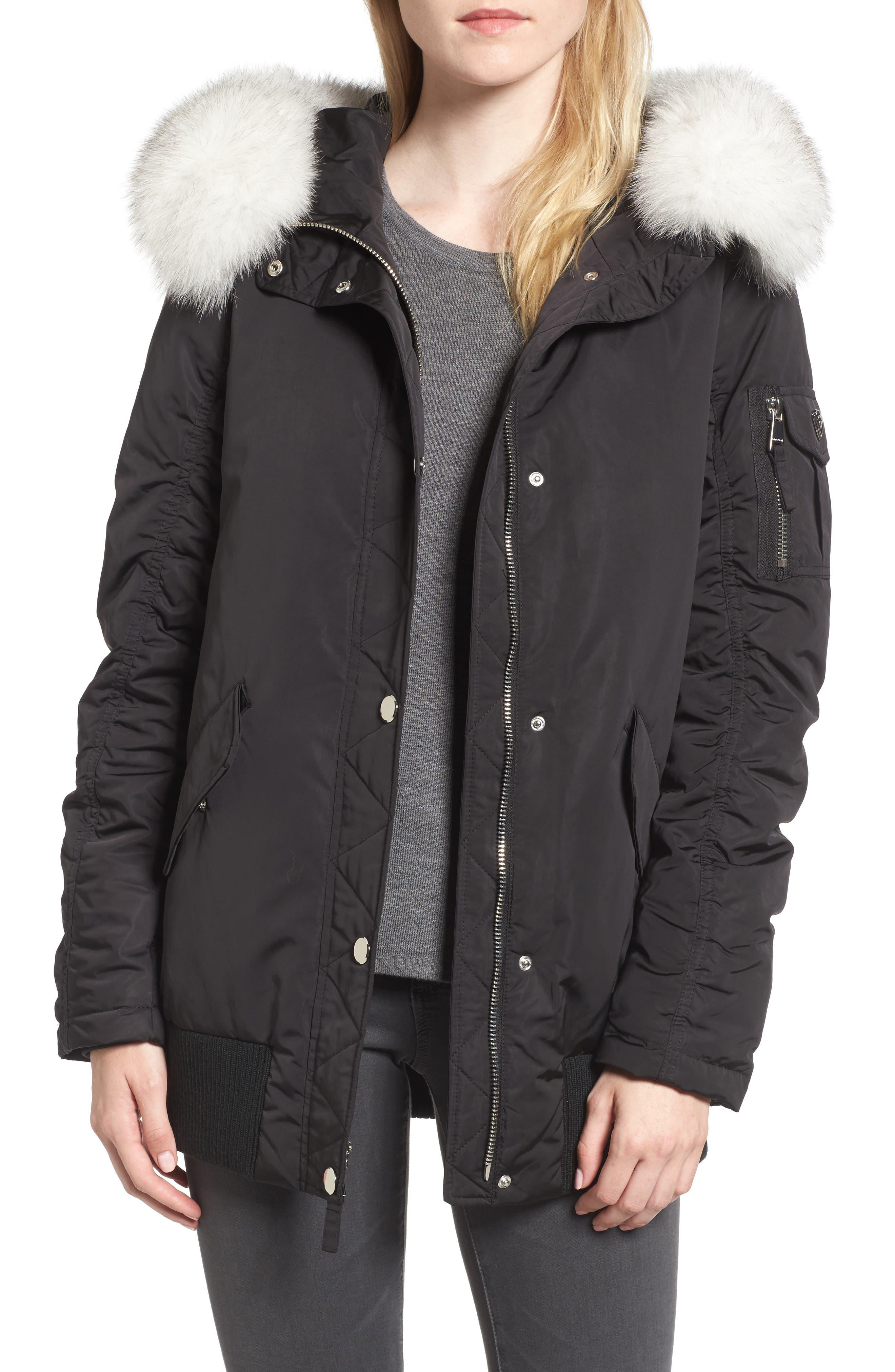 Genuine Fox Fur Trim Down Bomber Jacket,                             Main thumbnail 1, color,                             Black