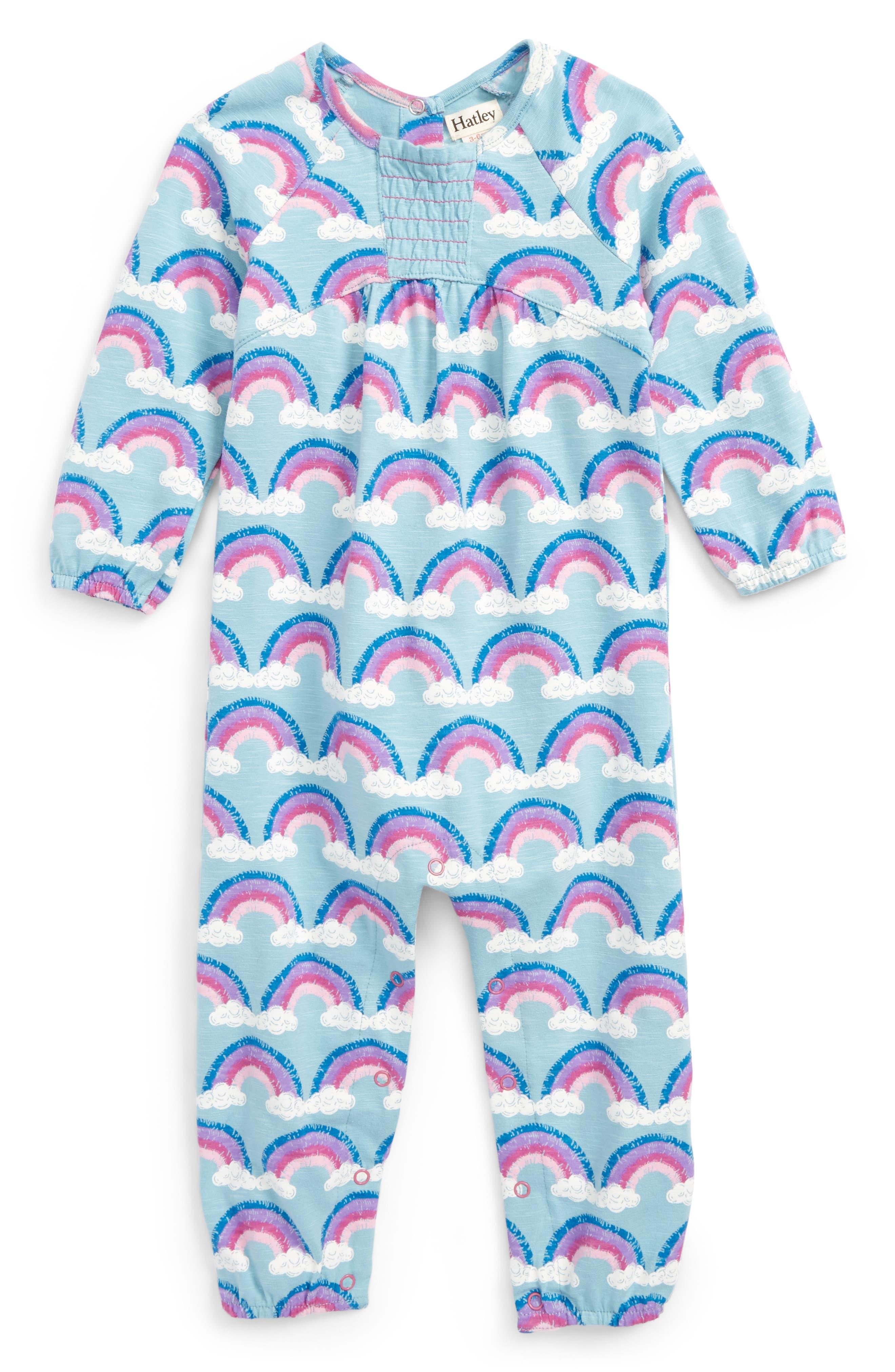 Print Long Sleeve Romper,                         Main,                         color, Rainbow Love