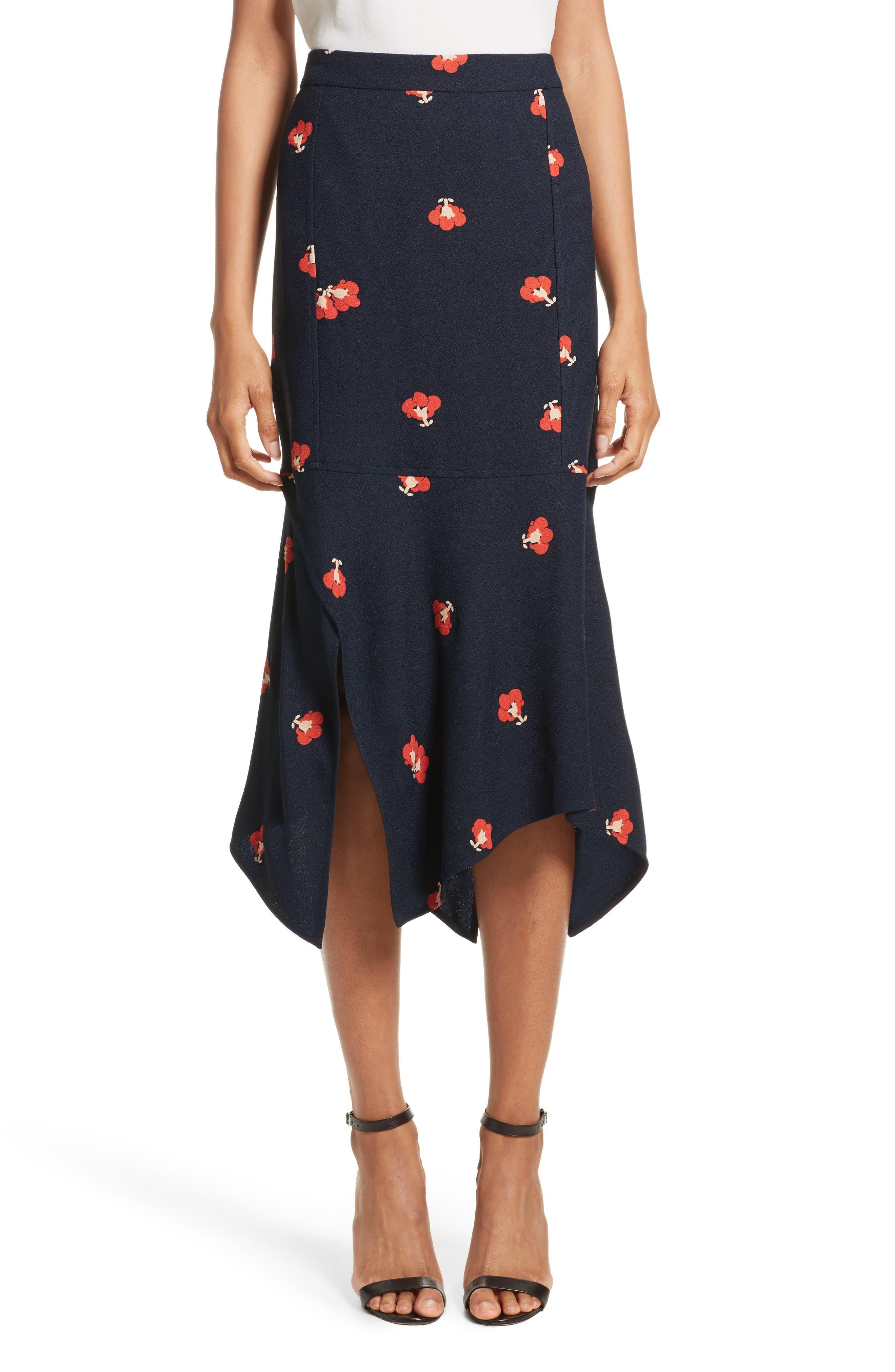 Victoria Beckham Handkerchief Hem Flower Print Skirt