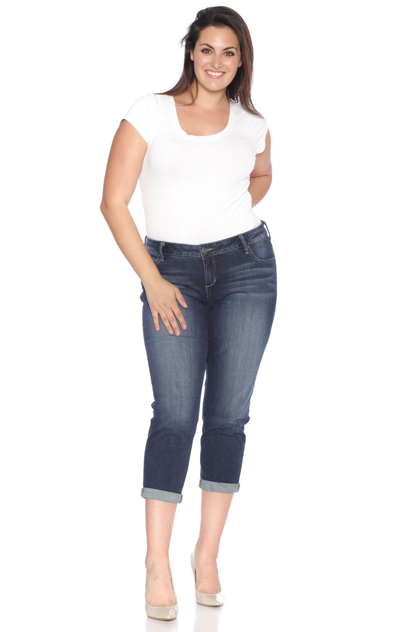 Rolled Crop Boyfriend Jeans,                             Alternate thumbnail 2, color,                             Kelly