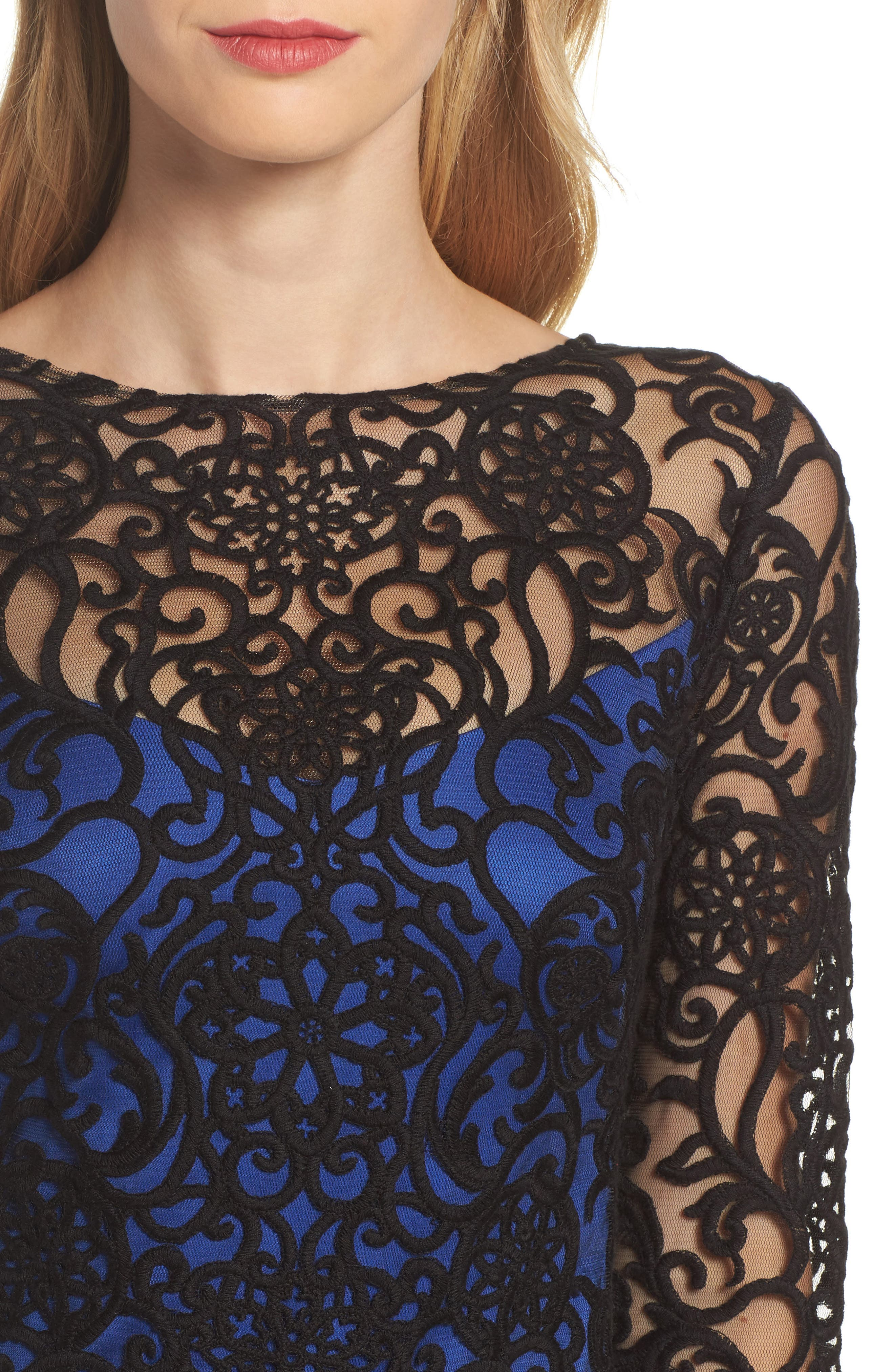 Alternate Image 4  - Tadashi Shoji Lace Embroidered Sheath Dress