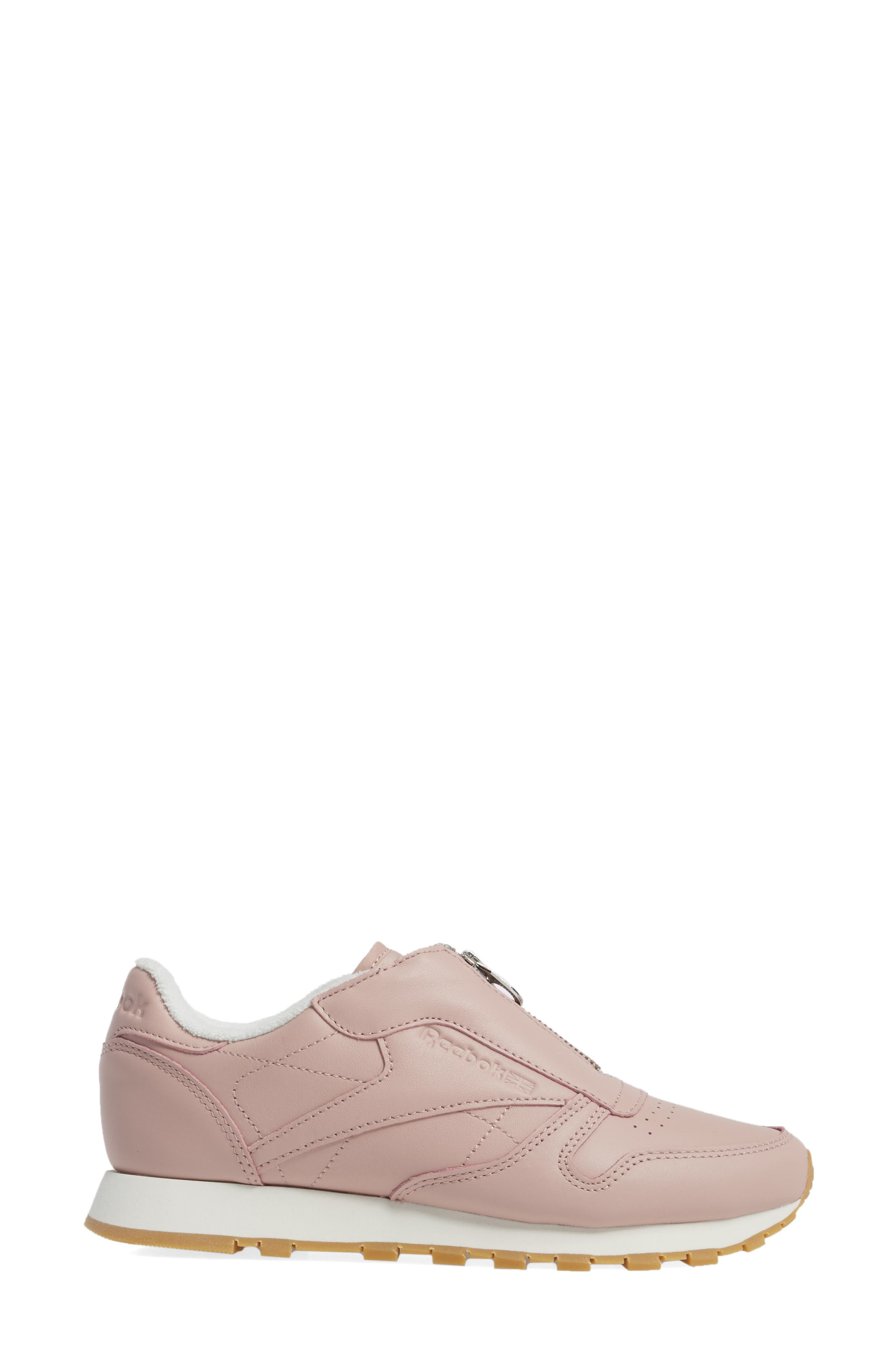 Classic Zip Sneaker,                             Alternate thumbnail 3, color,                             Shell Pink/ Chalk/ Silver
