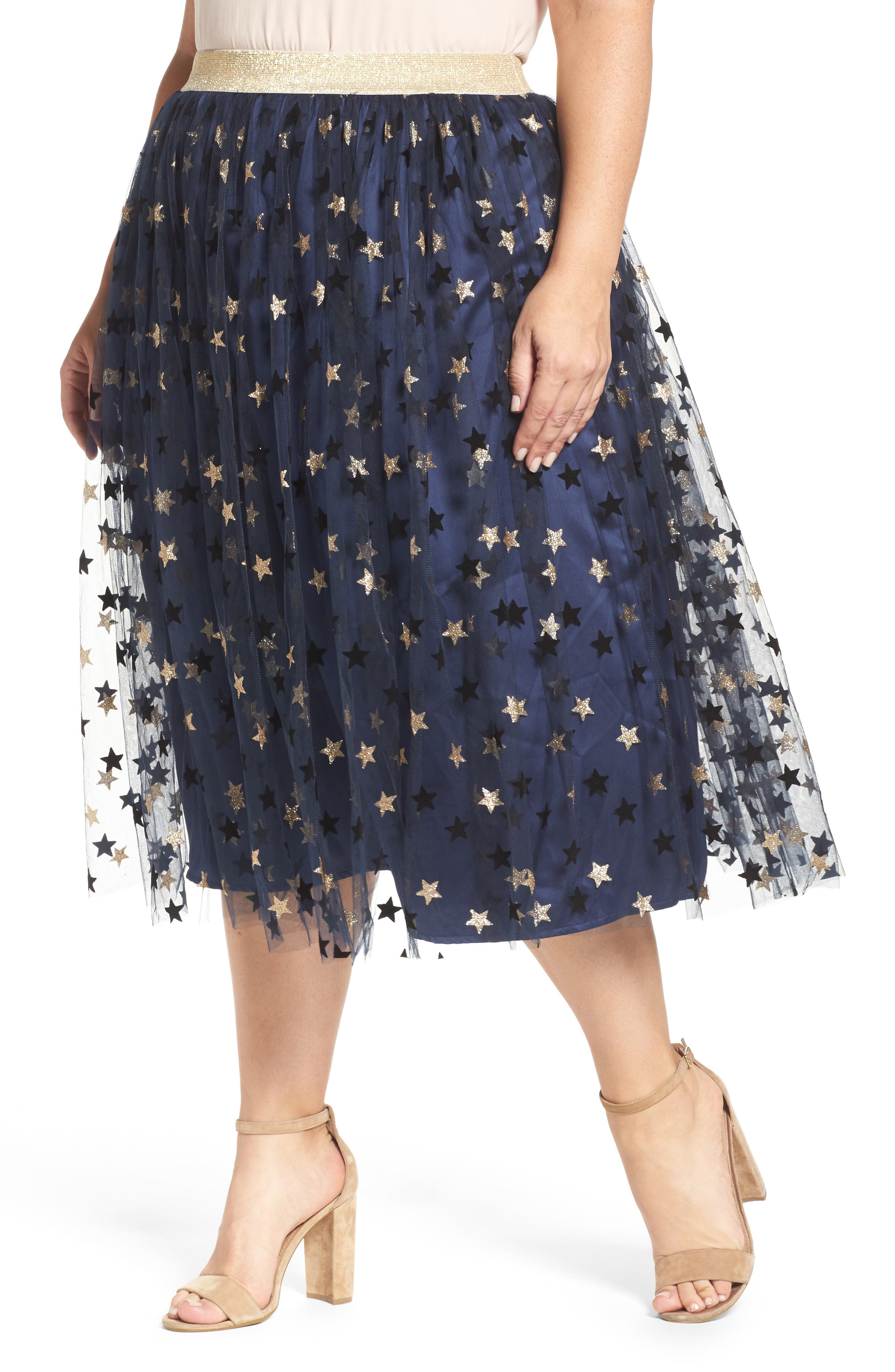 ELVI Star Print Tulle Skirt (Plus Size)